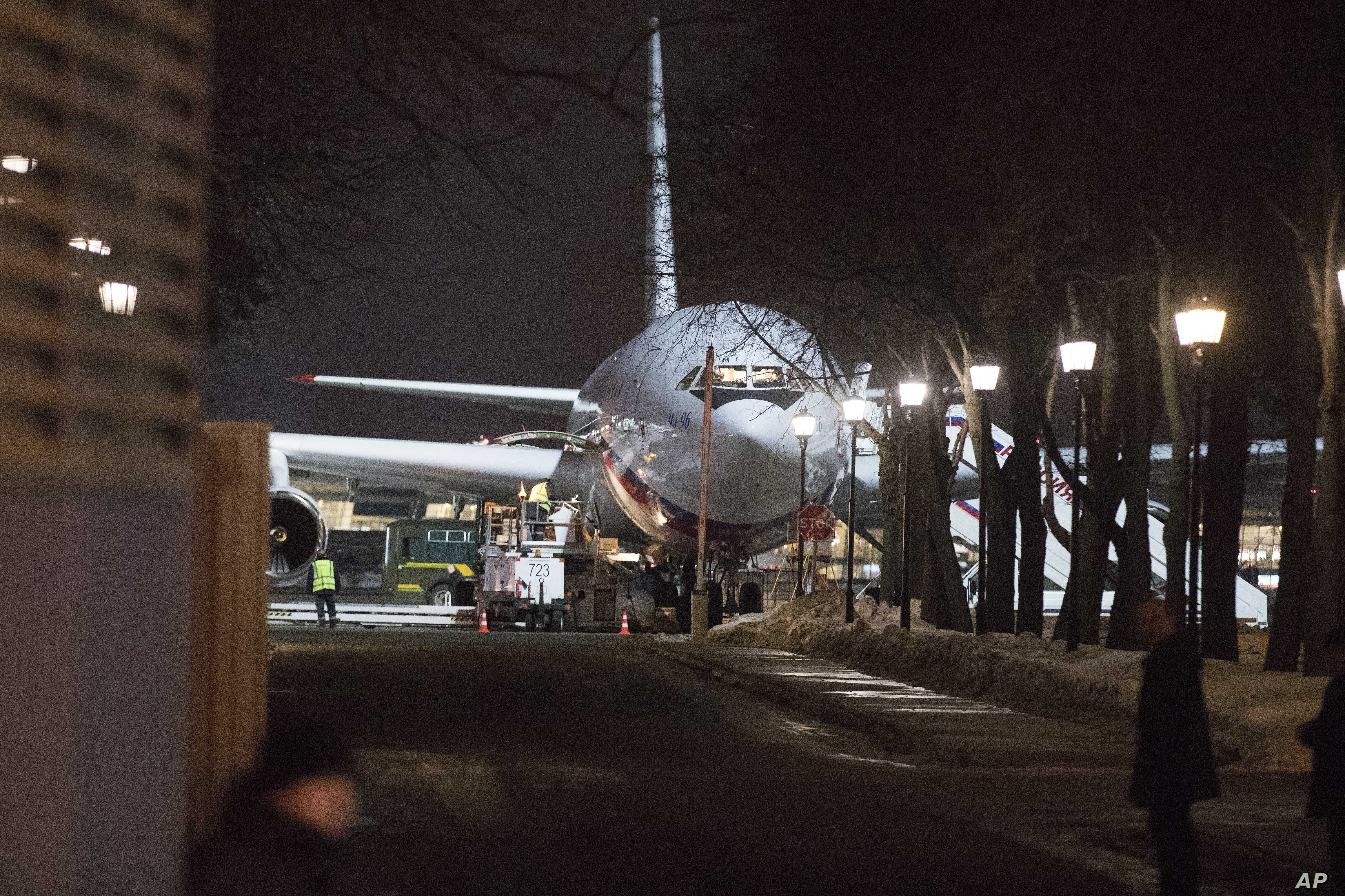 A plane that carried Russian diplomats and their families home, having been ordered to leave Britain as part of a standoff over a nerve agent attack on British soil, sits at the Vnukovo 2 government airport outside Moscow, March 20, 2018.