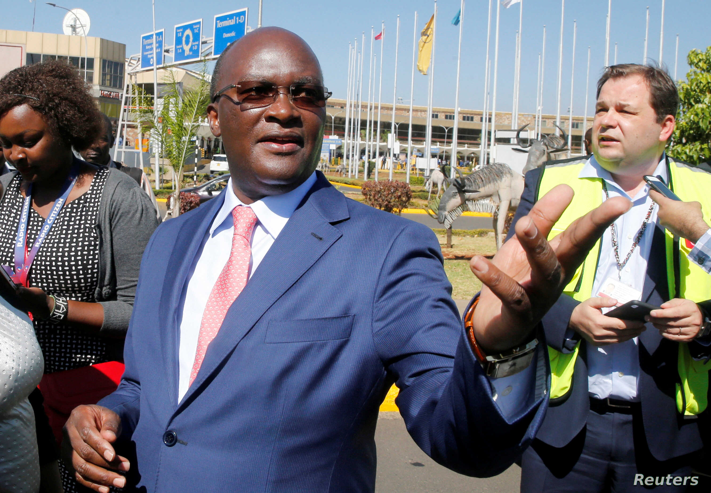 Kenya's Transport Cabinet Secretary James Macharia is seen at the Jomo Kenyatta International Airport during a labor dispute that grounded flights, on the outskirts of Nairobi, Kenya, March 6, 2019.
