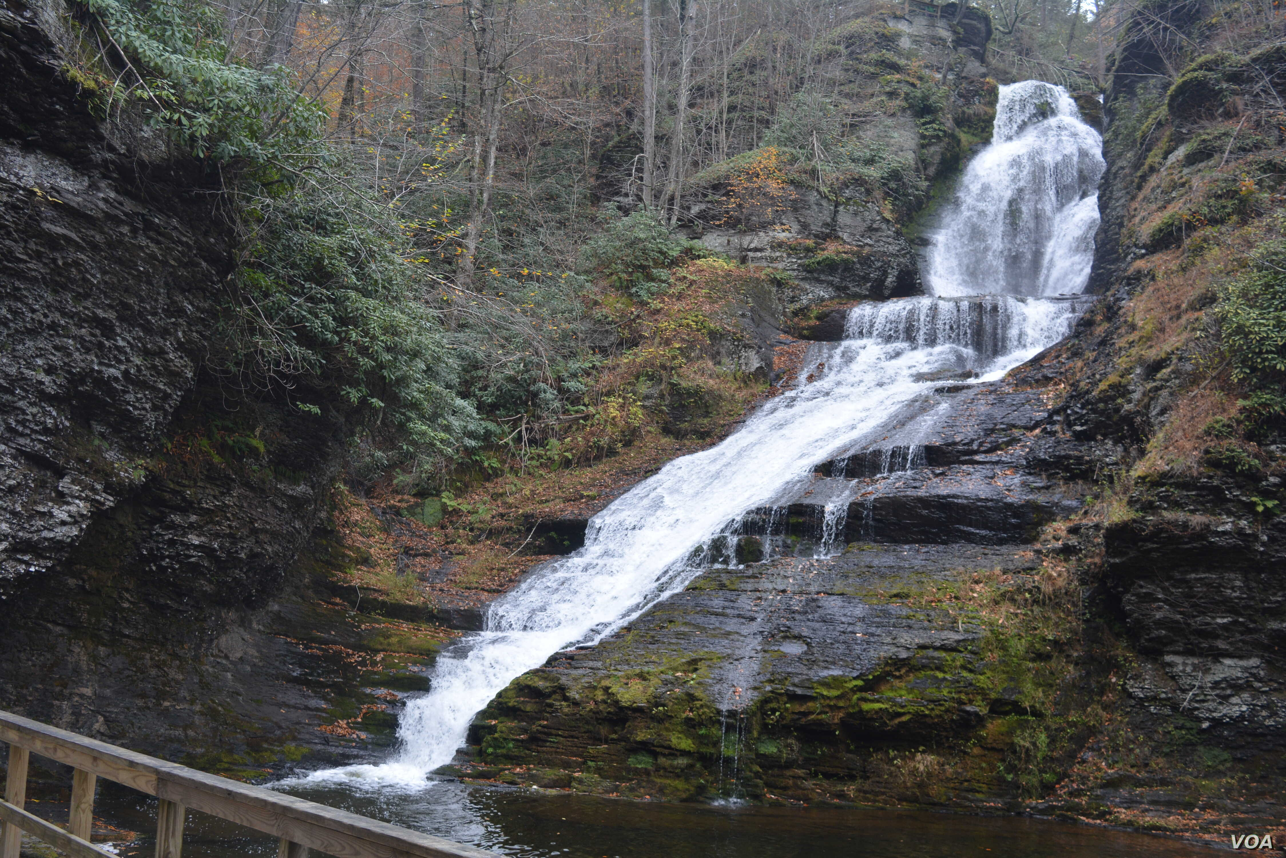 Waterfalls such as the popular Dingmans Falls plunge from the higher elevations, providing cool oases during the summer and spectacular ice walls in the winter at Delaware Water Gap National Recreation Area in Pennsylvania.