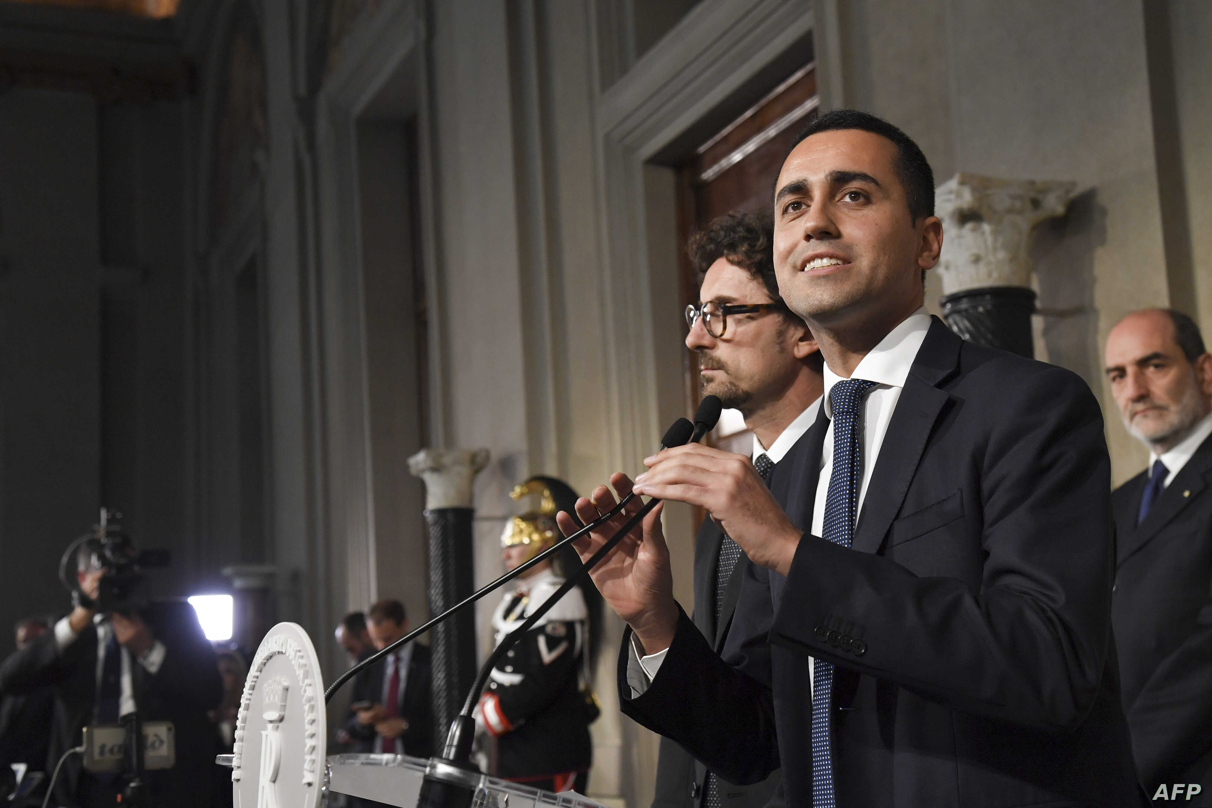 Anti-establishment Five Star Movement (M5S) leader Luigi Di Maio speaks to the press after a meeting with Italian President Sergio Mattarella as part of consultations of political parties to form a government, on May 14, 2018 at the Quirinale palace ...