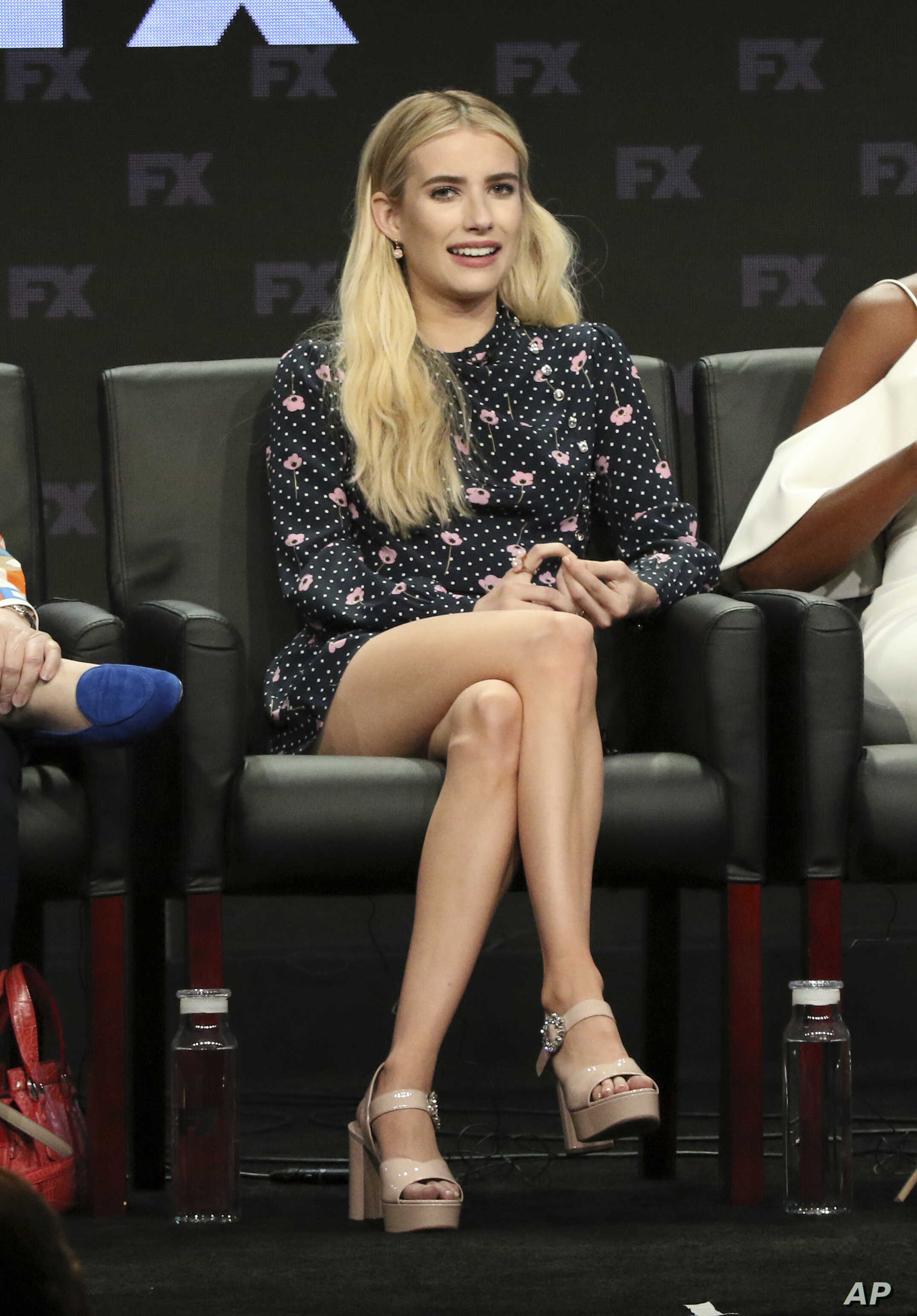 """FILE - Emma Roberts participates in the """"American Horror Story: Apocalypse"""" panel during the FX Television Critics Association Summer Press Tour at The Beverly Hilton hotel in Beverly Hills, Calif., Aug. 3, 2018."""