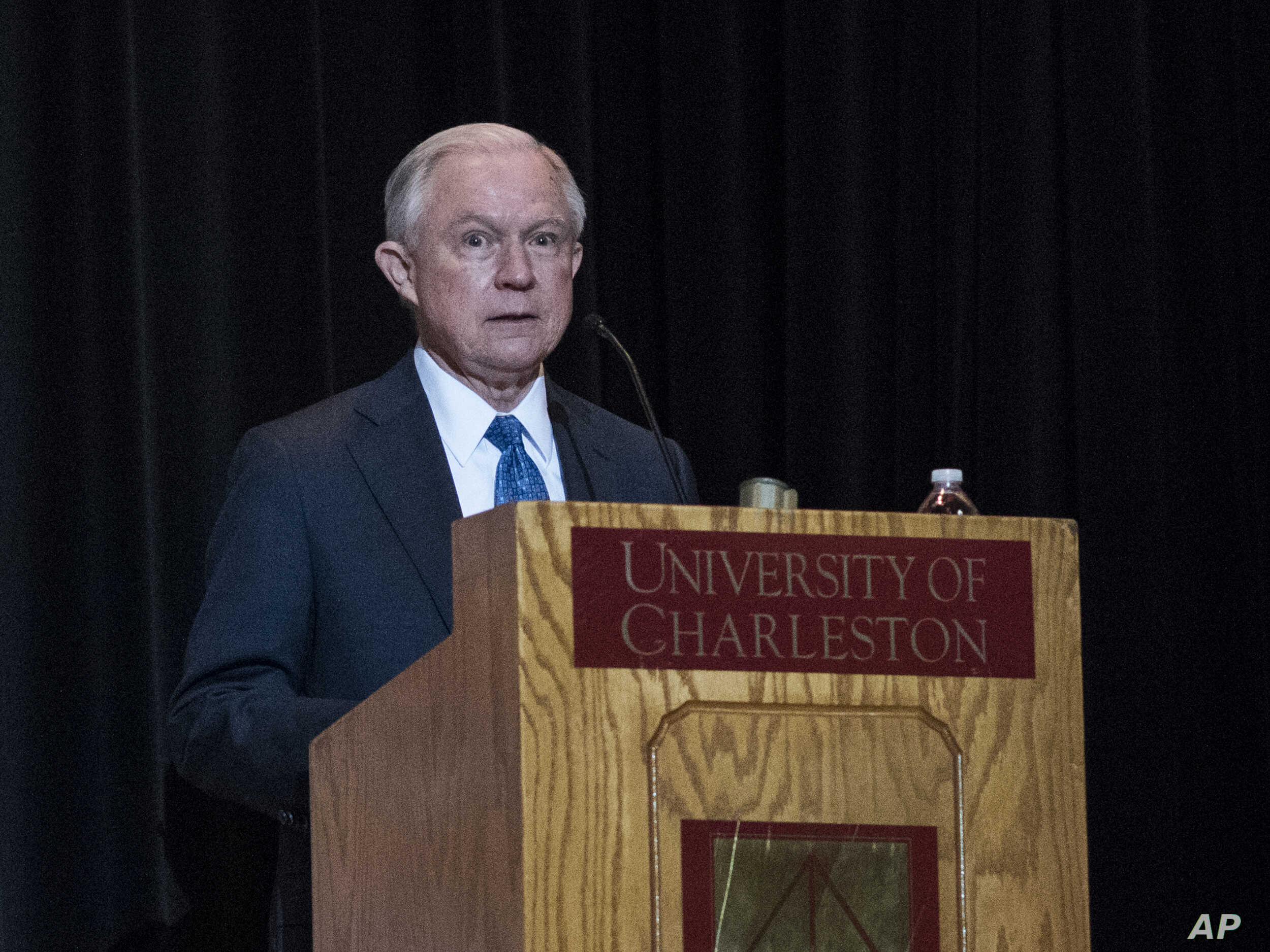 Attorney General Jeff Sessions addresses the crowd with opening remarks during a Drug Enforcement Administration (DEA) 360 Heroin and Opioid Response Summit at the University of Charleston, May 11, 2017, in Charleston, W.Va.