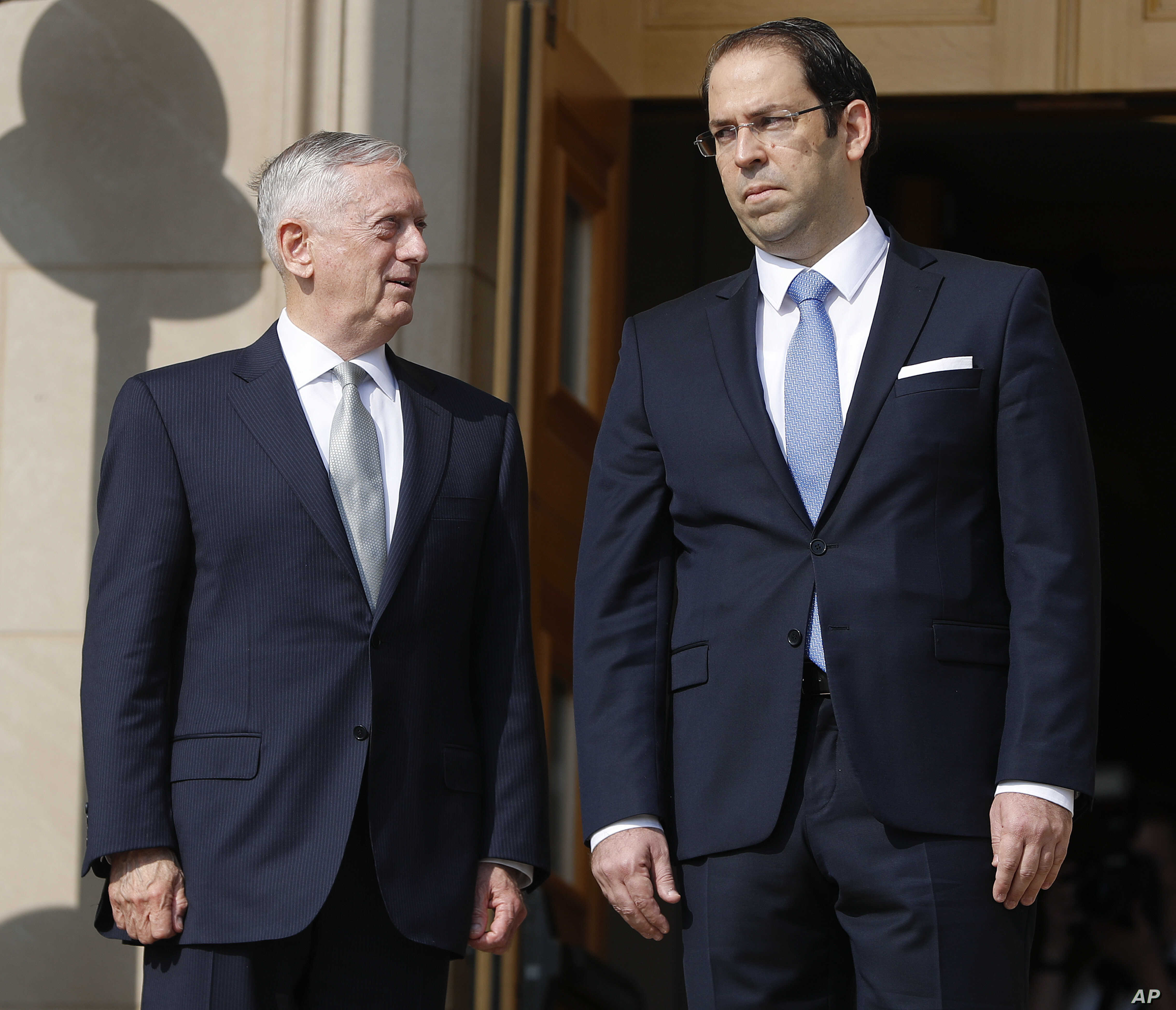 Defense Secretary Jim Mattis hosted an enhanced honor cordon for Tunisian Prime Minister Youssef Chahed at the Pentagon, July 10, 2017.