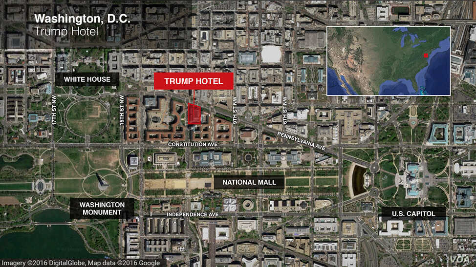 Map of Trump Hotel in Washington, D.C., and surrounding area.