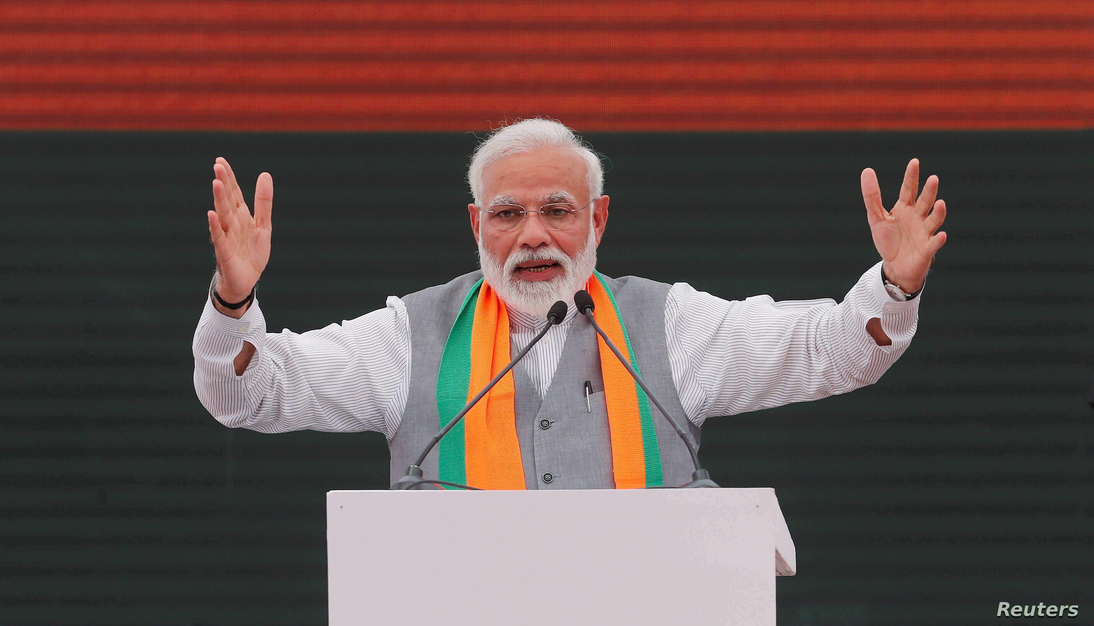 FILE - Indian Prime Minister Narendra Modi gestures as he speaks after releasing India's ruling Bharatiya Janata Party (BJP)'s election manifesto for the April/May general election, in New Delhi, Apr. 8, 2019.