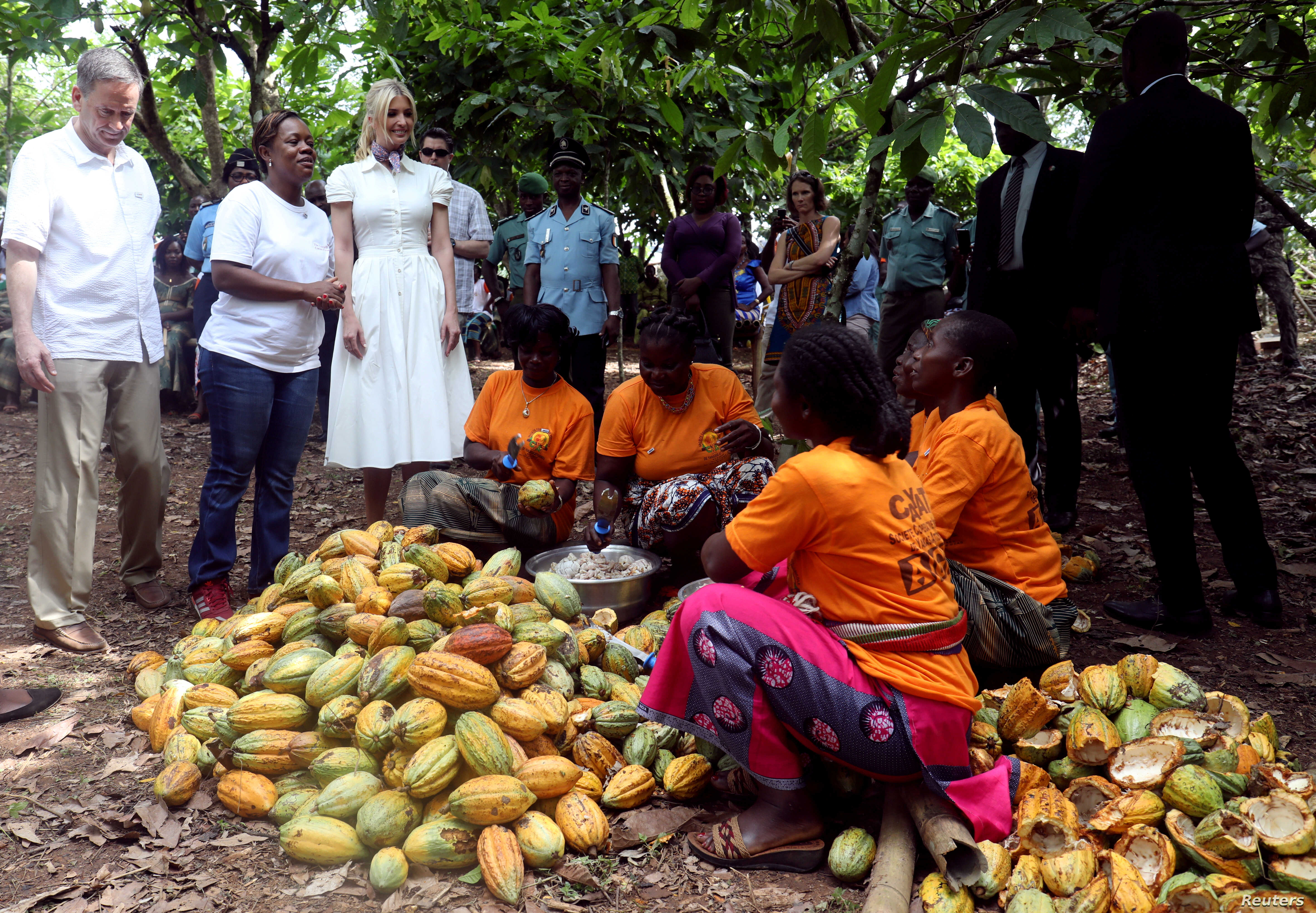 White House Advisor Ivanka Trump and U.S. Agency for International Development (USAID) Administrator Mark Green visit women entrepreneurs, at the demonstration cocoa farm in Adzope, Ivory Coast, Apr. 17, 2019.
