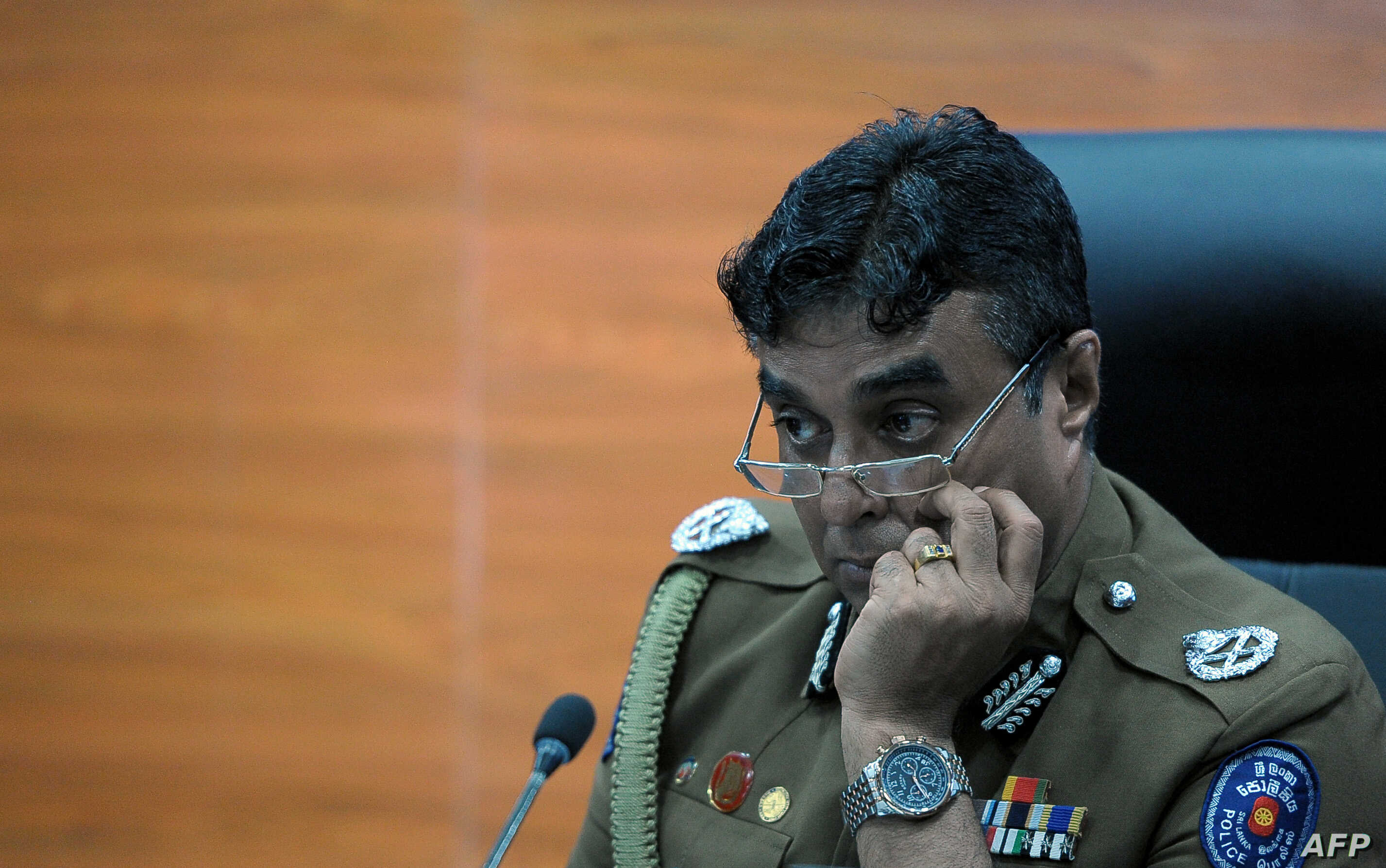 FILE - Sri Lanka police chief Pujith Jayasundara ia seen at police headquarters in Colombo, March 7, 2017.