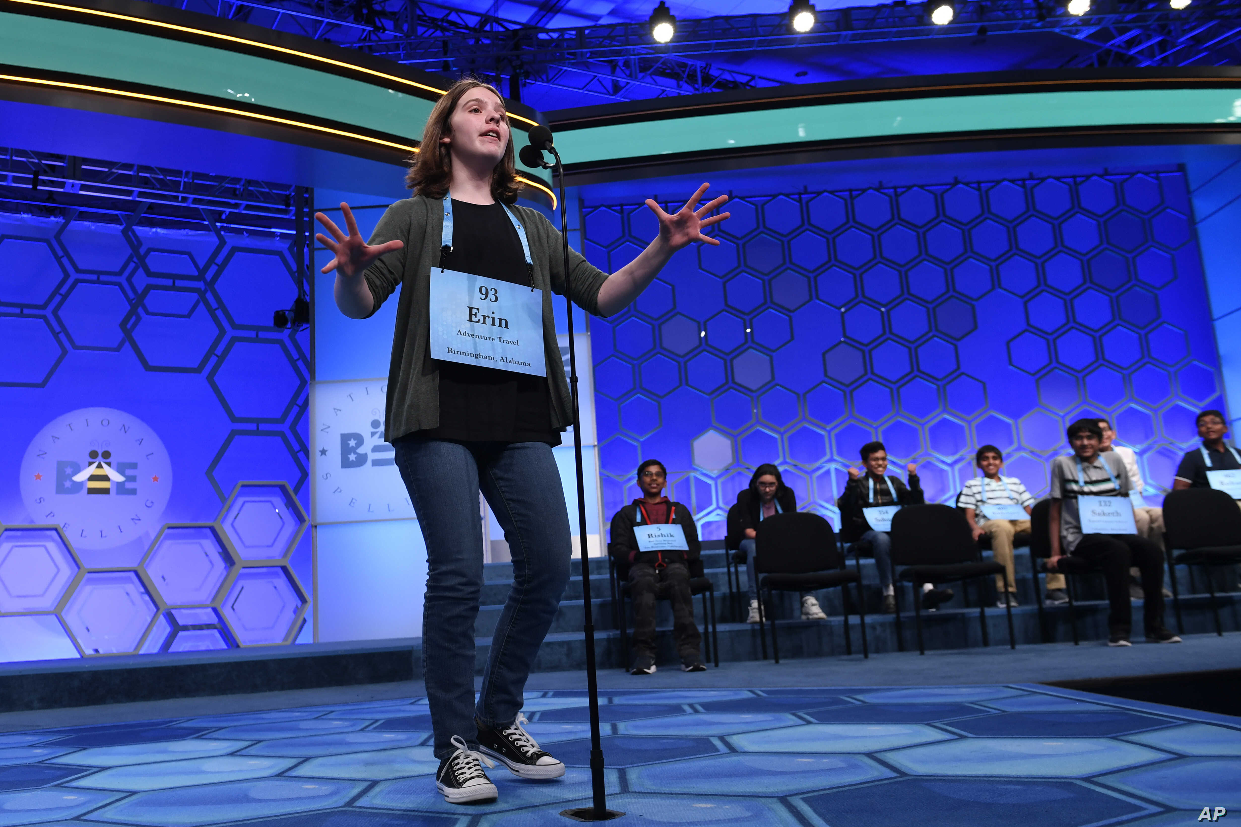 Erin Howard, 14, of Huntsville, Ala., gets excited after receiving her last word to spell as she competes in the finals of the 2019 Scripps National Spelling Bee in Oxon Hill, Md., May 30, 2019.