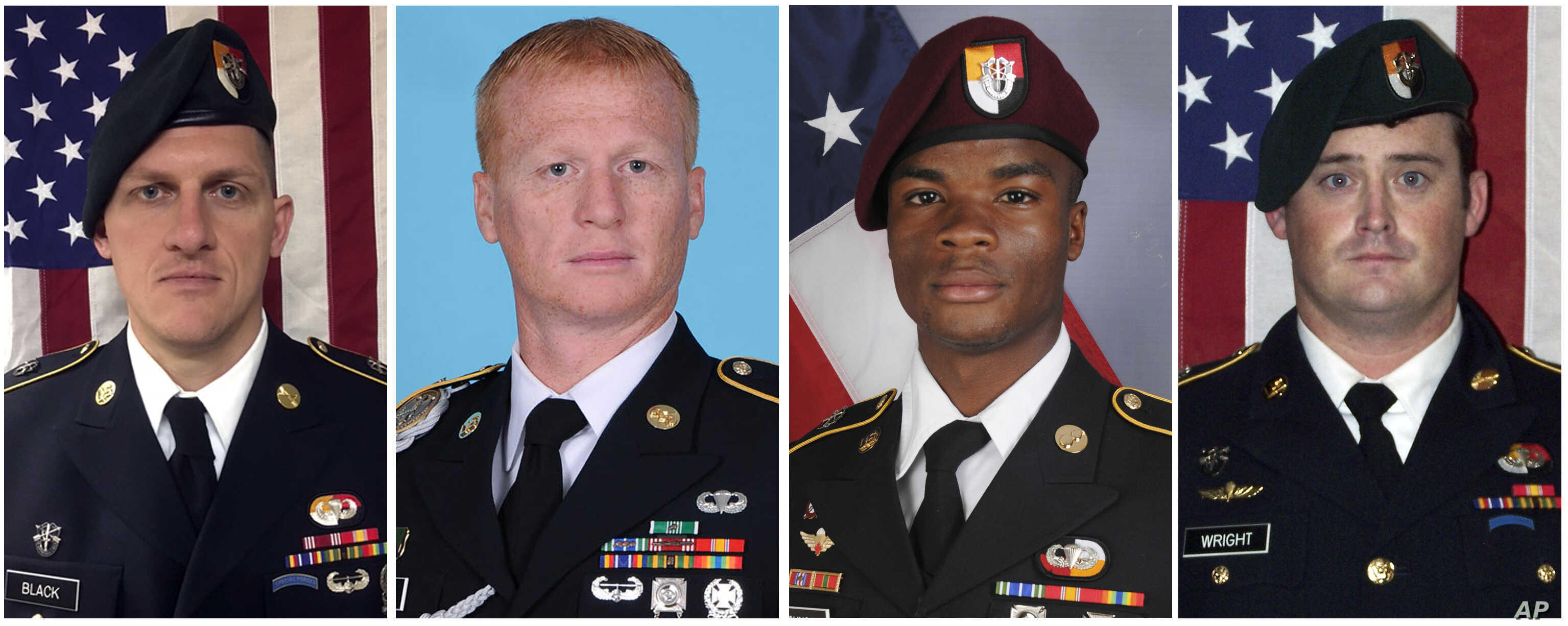 These images provided by the U.S. Army show, from left, Staff Sgt. Bryan C. Black, 35, of Puyallup, Wash.; Staff Sgt. Jeremiah W. Johnson, 39, of Springboro, Ohio; Sgt. La David Johnson of Miami Gardens, Fla.; and Staff Sgt. Dustin M. Wright, 29, of Lyons