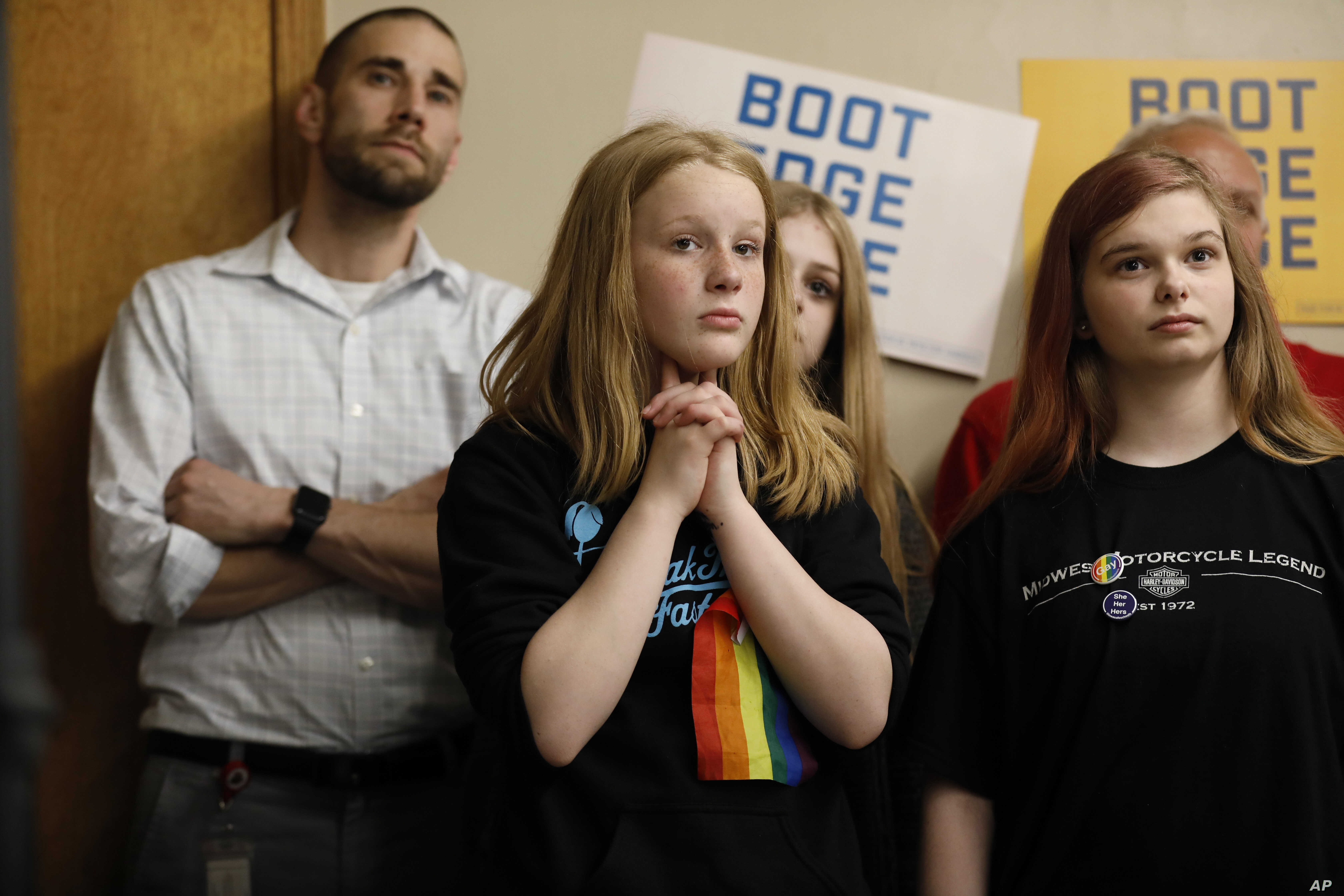 Audience members listen as 2020 Democratic presidential candidate South Bend Mayor Pete Buttigieg speaks during a town hall meeting in Fort Dodge, Iowa, April 16, 2019.