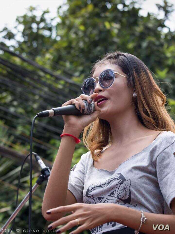 Cambodian singer Vartey Ganiva is seen on a photo from her Facebook page @VarteyGaniva.