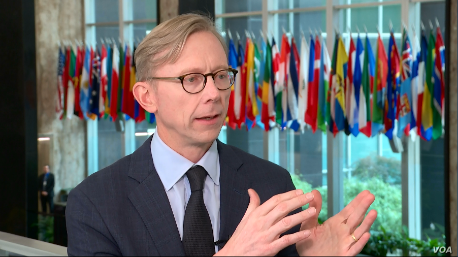 U.S. Special Representative for Iran Brian Hook speaks to VOA Persian at the State Department in Washington, May 9, 2019.