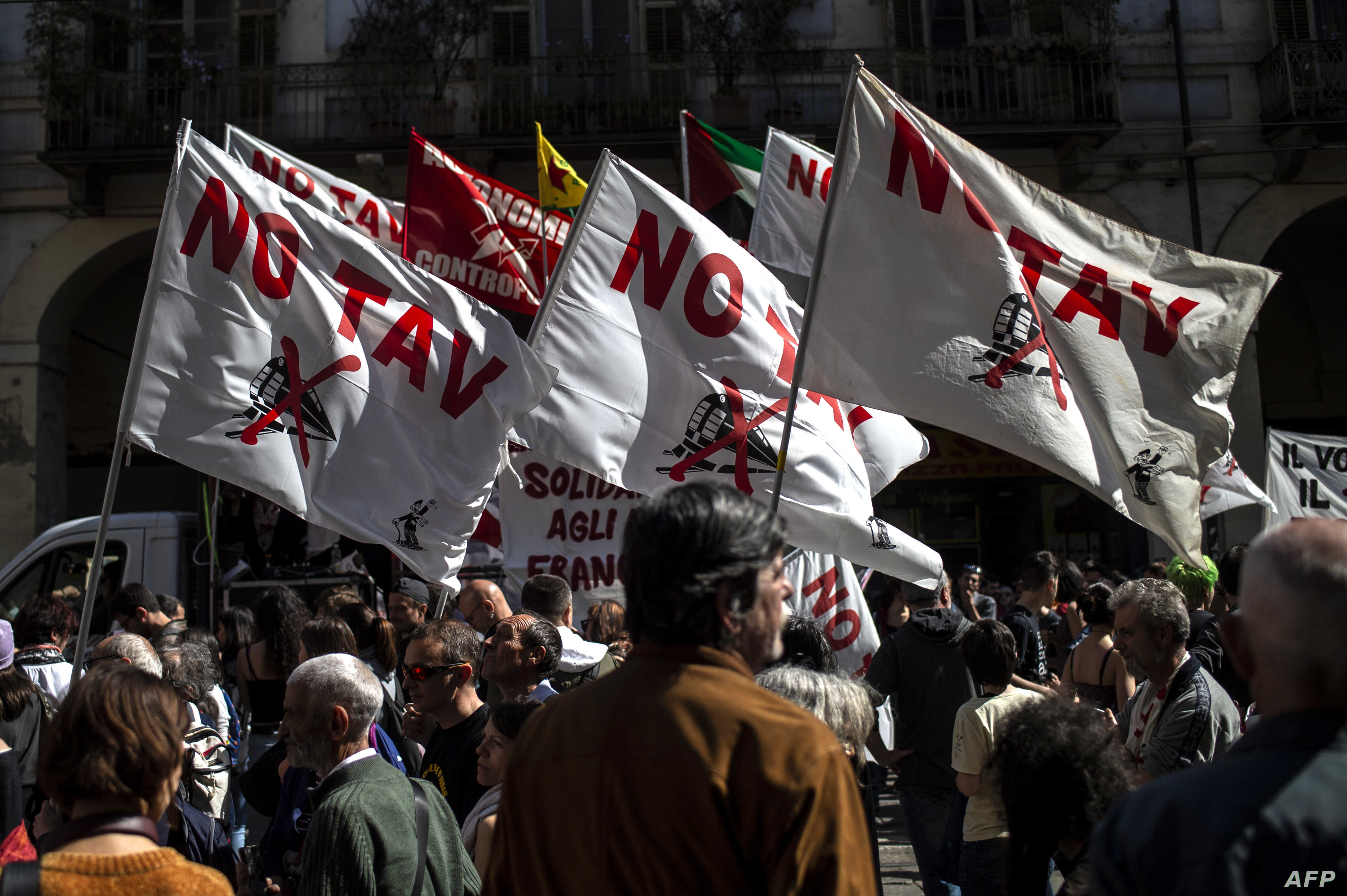 No Tav (No high speed train) demonstrators gather in Turin during one of several rallies against unemployment in Italy as people across the world mark May Day in Turin, May 1, 2019.