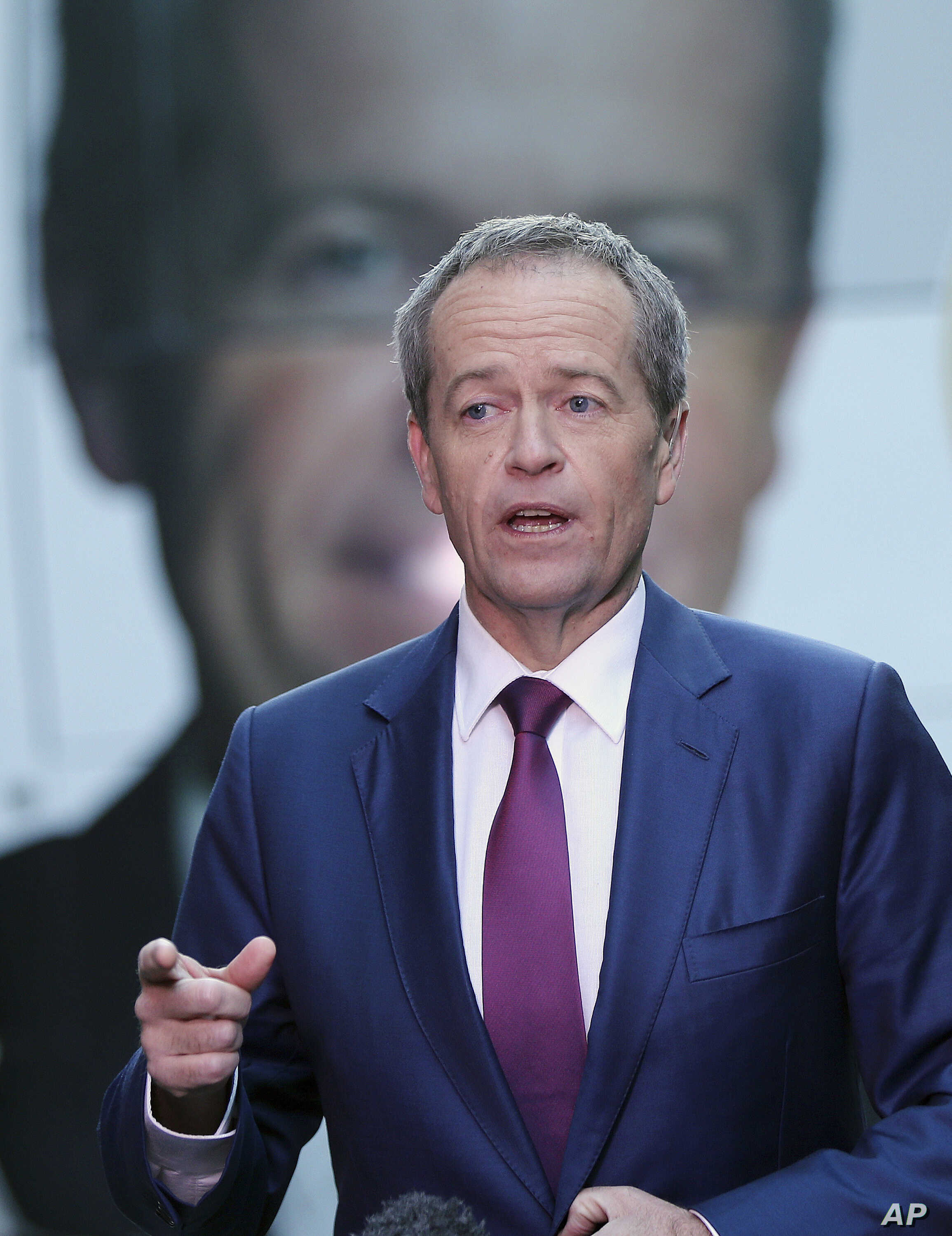 FILE - Australian Labor Party leader Bill Shorten answers questions during a television interview on election day in Sydney, July 2, 2016.