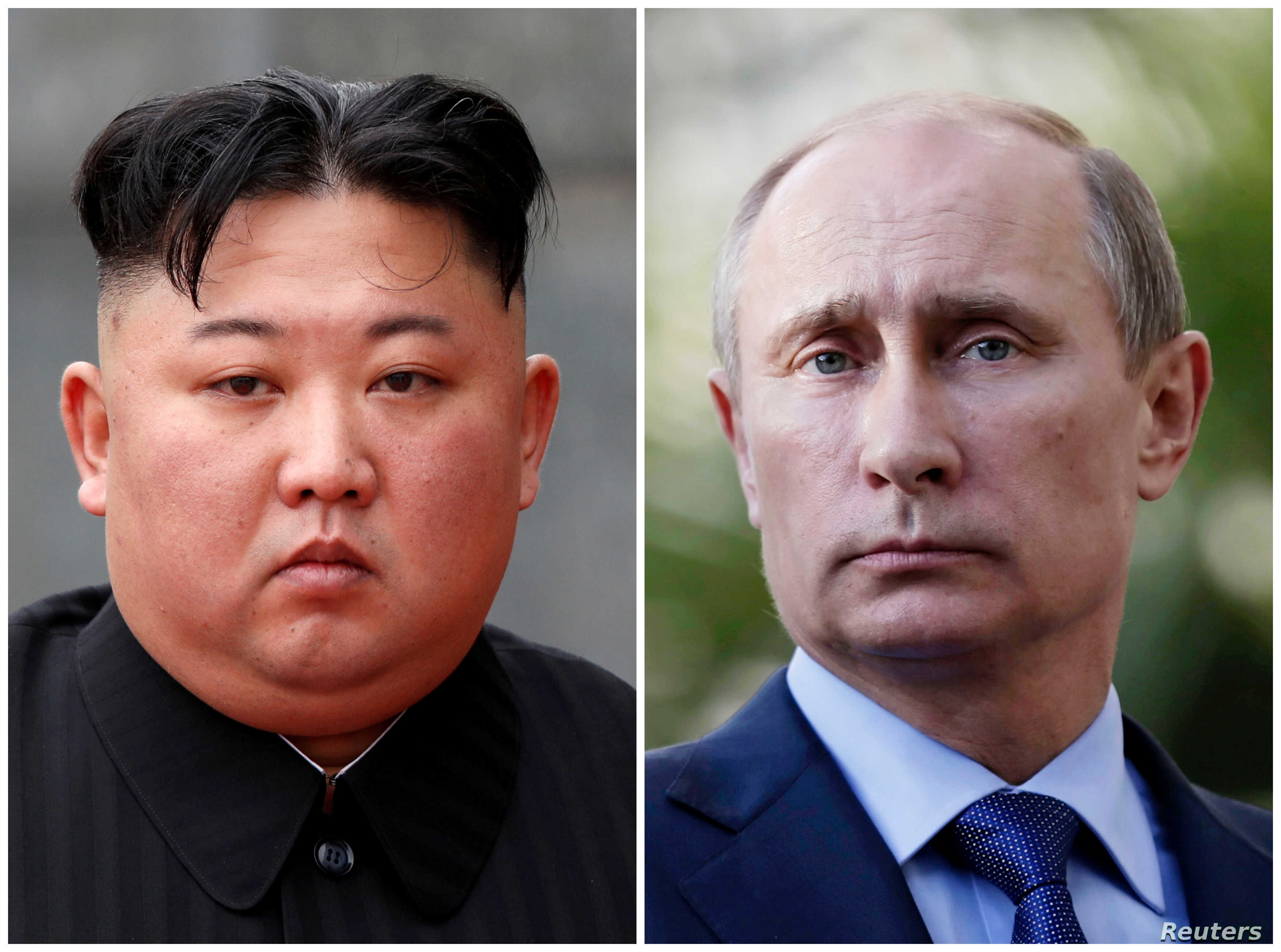 FILE - A combination of file photos shows North Korean leader Kim Jong Un in Hanoi, Vietnam, March 2, 2019, and Russia's President Vladimir Putin during a joint news conference in Sochi, Krasnodar region, Russia, May 16, 2013.