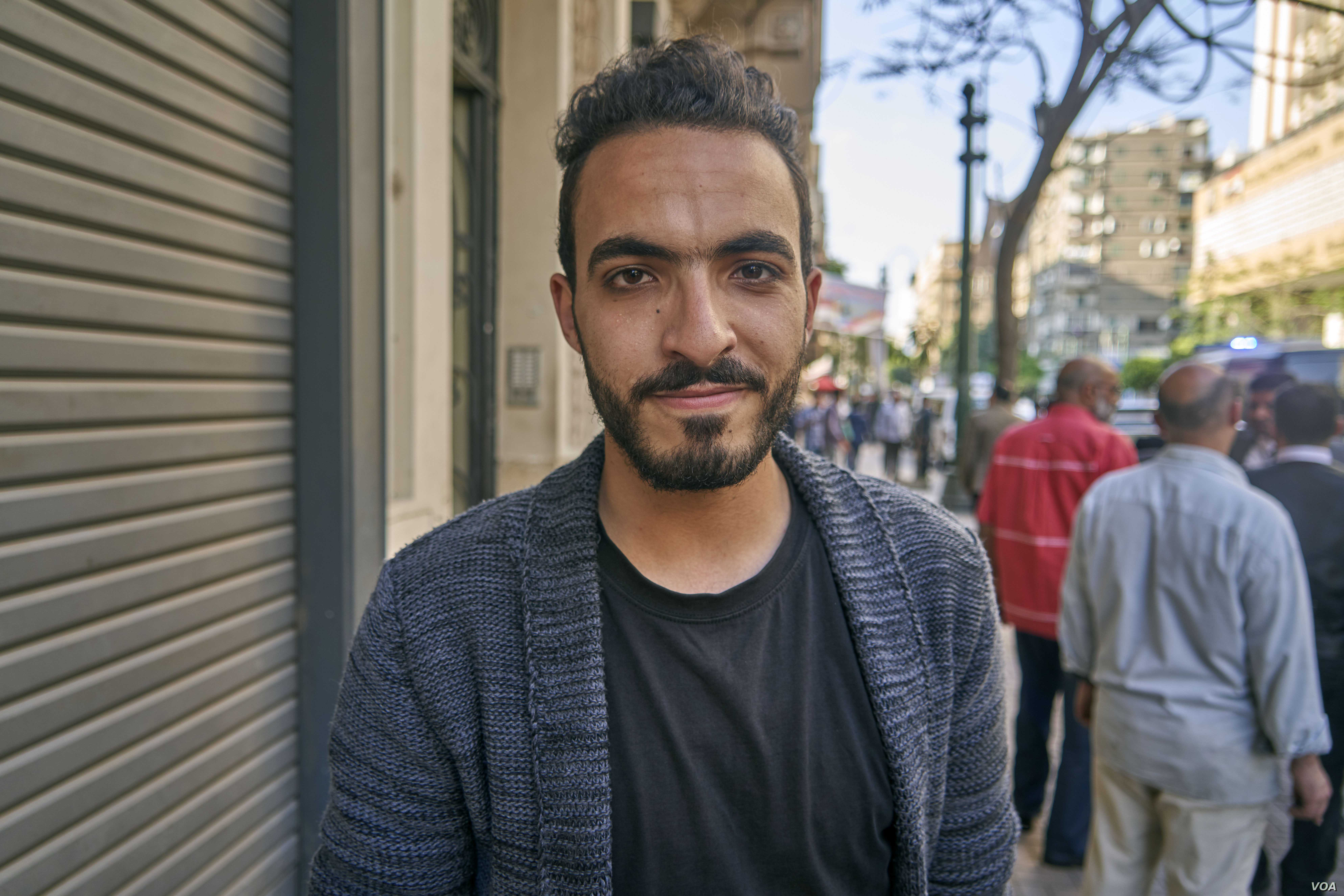"""Ahmed Mamdouh, says he will vote """"no"""" but still he would not mind if the president's term was extended in Cairo, on April 20, 2019."""