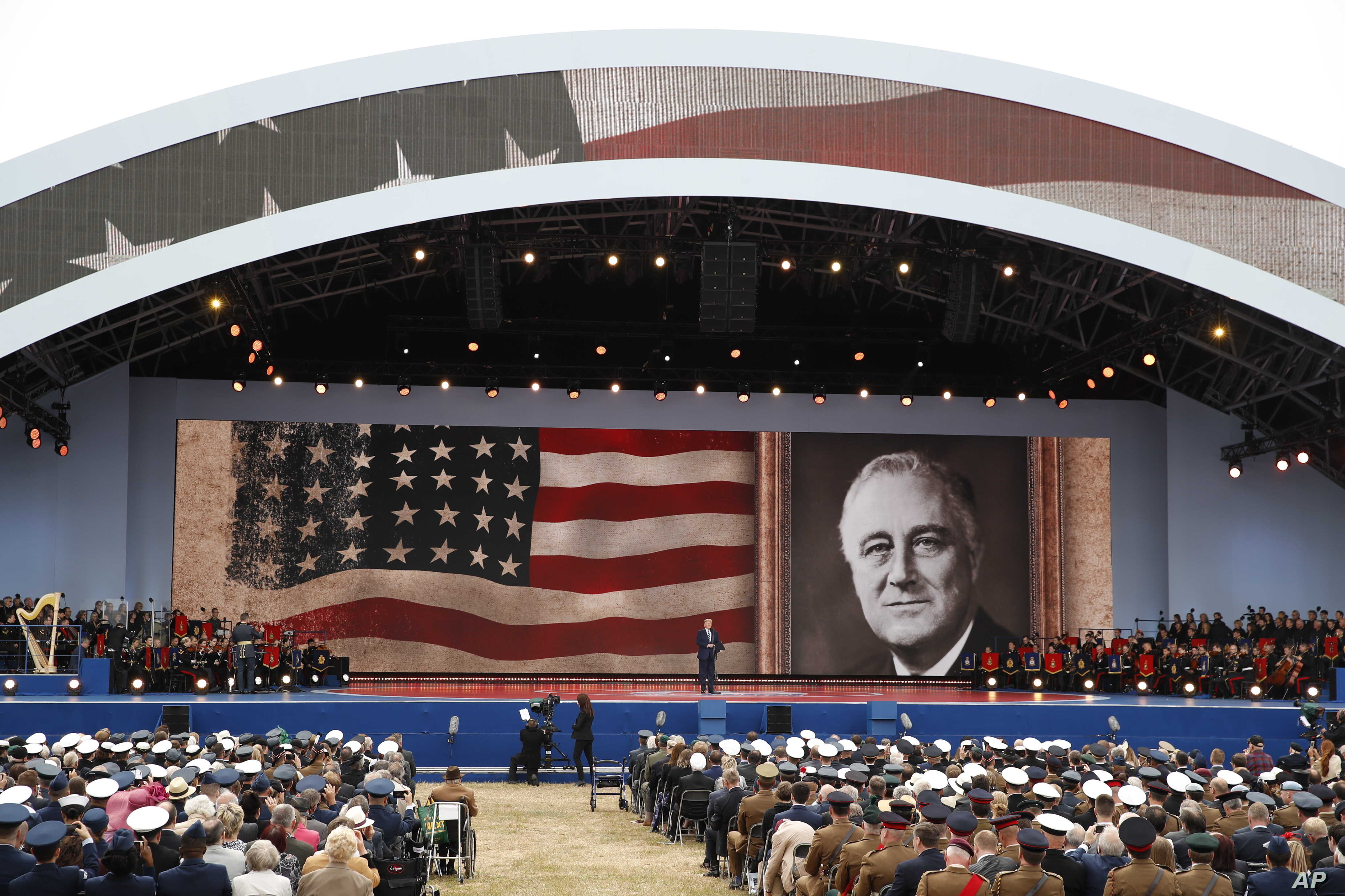 President Donald Trump speaks during a ceremony to mark the 75th Anniversary of D-Day, when the Allied soldiers, sailors and airmen conducted an invasion that helped liberate Europe from Nazi Germany, June 5, 2019, in Portsmouth, England.