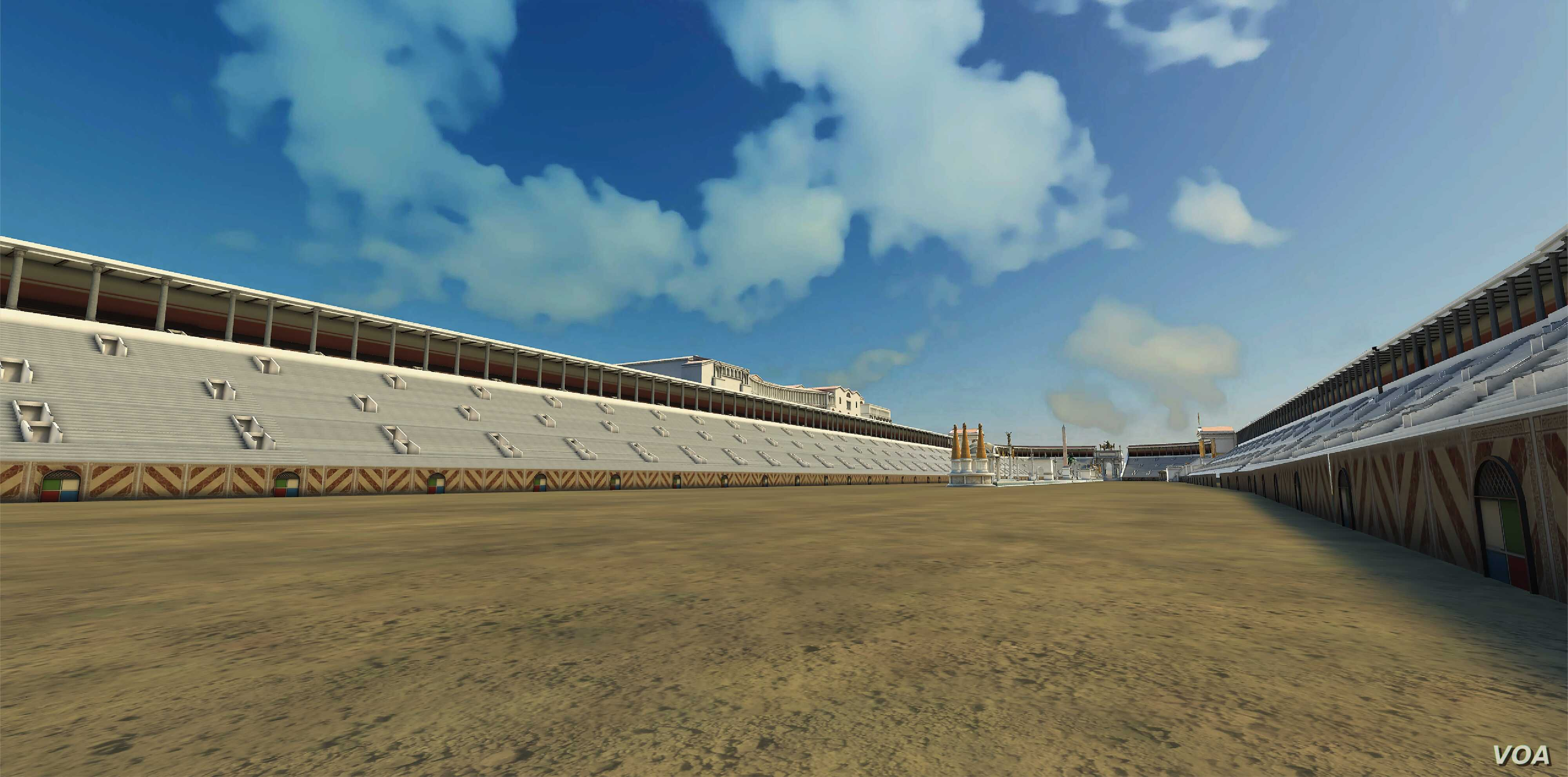 Another view of Rome's Circus Maximus reconstructed, with its tiered seating arena.
