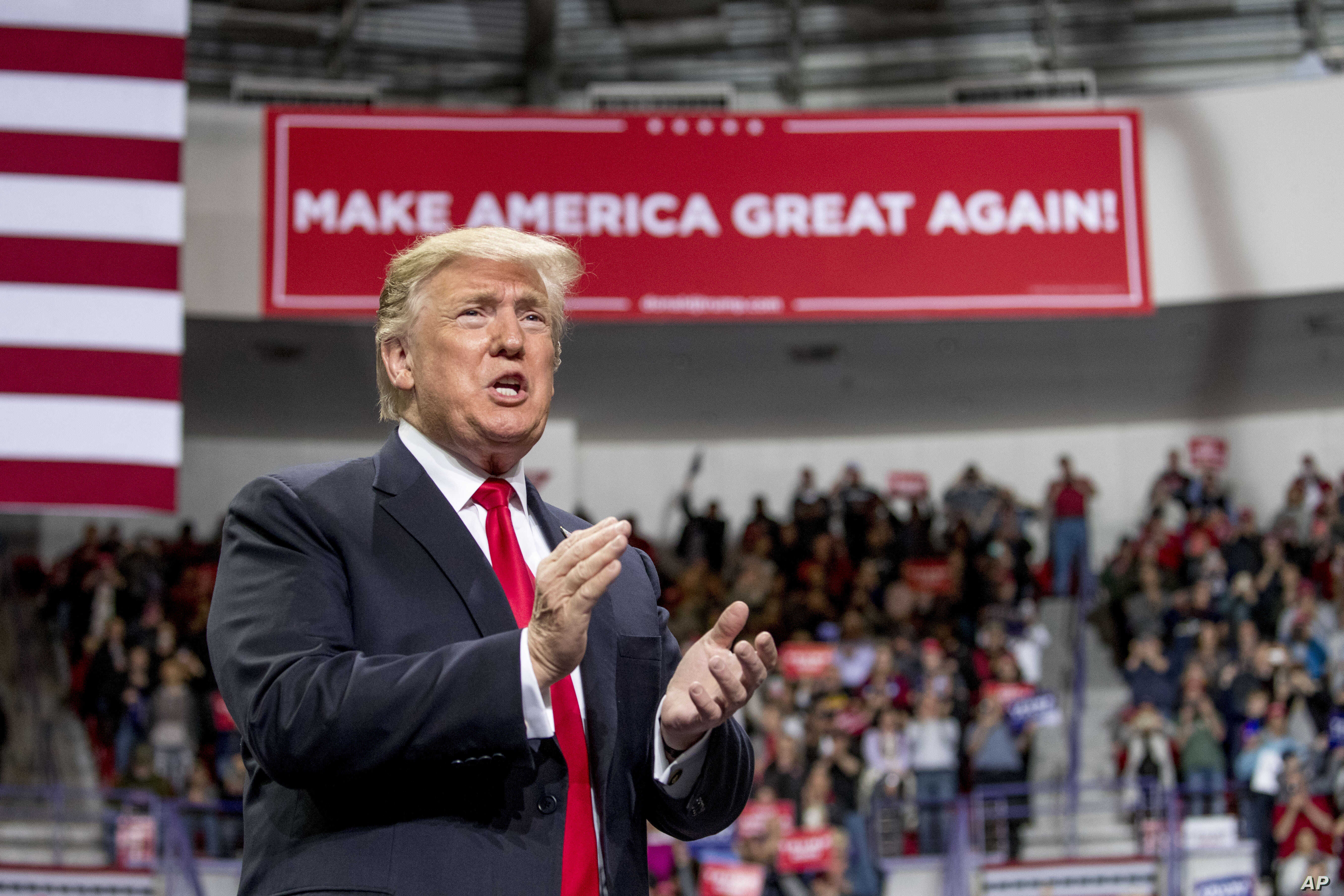 President Donald Trump arrives at a rally at Resch Center Complex in Green Bay, Wis., Saturday, April 27, 2019.
