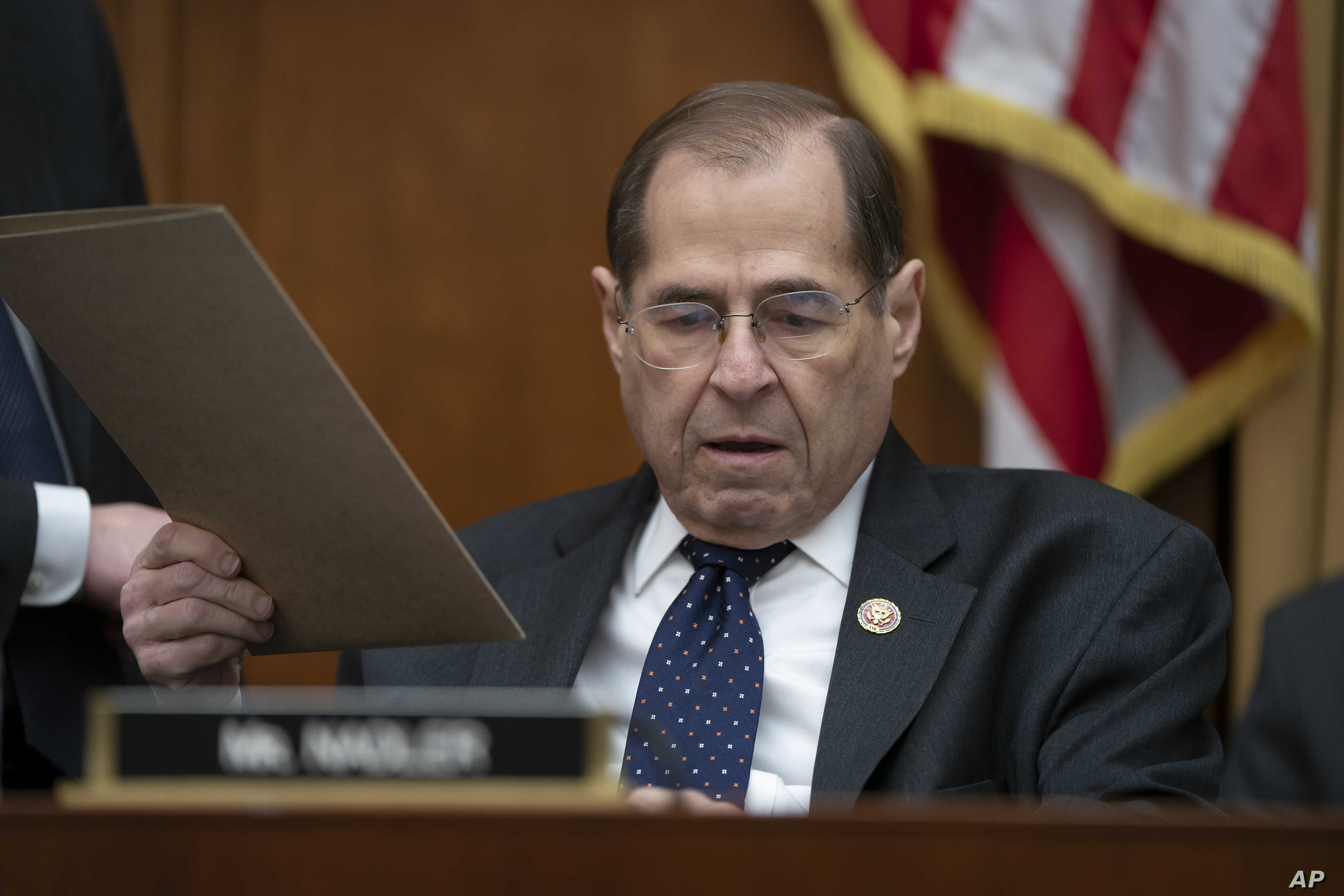House Judiciary Committee Rep. Jerrold Nadler, D-N.Y., prepares for a hearing on the Equal Rights Amendment on Capitol Hill in Washington, April 30, 2019.