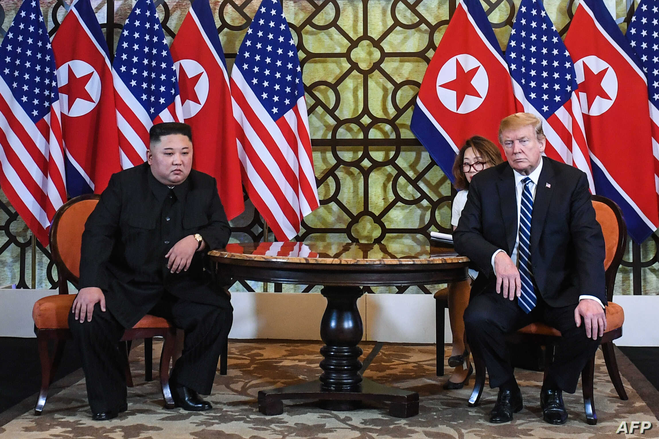 U.S. President Donald Trump and North Korea's leader Kim Jong Un meet during the second U.S.-North Korea summit at the Sofitel Legend Metropole hotel in Hanoi, Feb. 28, 2019.