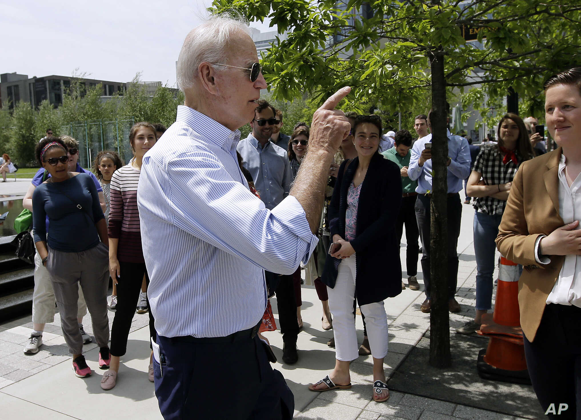 Former U.S. vice president and Democratic presidential candidate Joe Biden speaks to people in downtown Boston, Massachusetts, June 5, 2019.