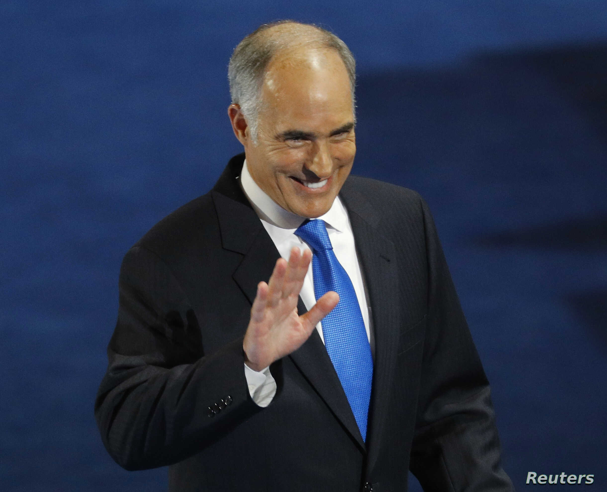 U.S. Sen. Bob Casey, D-Pa., waves after speaking at the Democratic National Convention in Philadelphia, Pennsylvania, July 25, 2016.