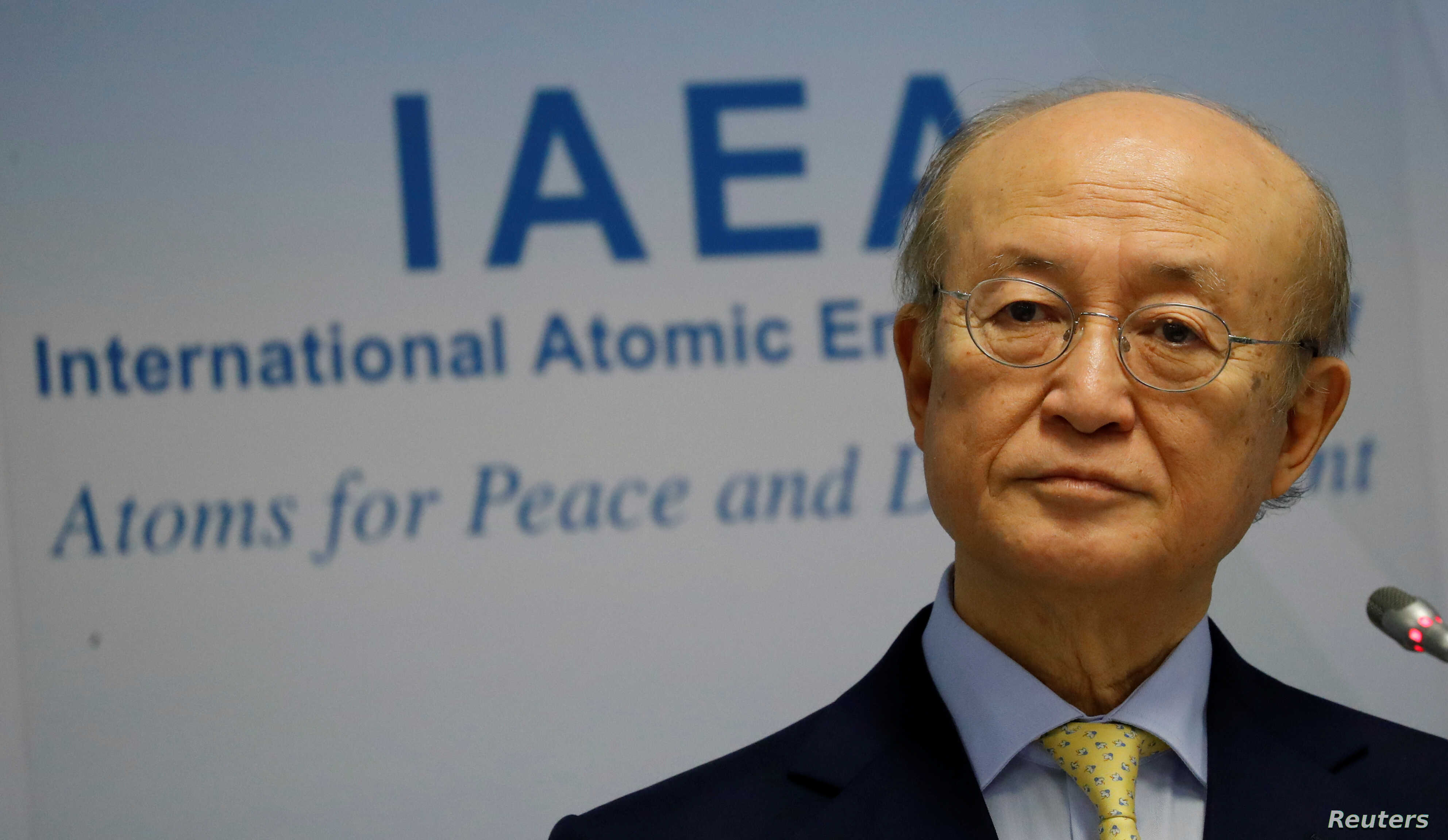 FILE - International Atomic Energy Agency Director General Yukiya Amano addresses a news conference during a board of governors meeting at the IAEA headquarters in Vienna, March 4, 2019. The agency said Friday that Iran is in compliance with its nucl...
