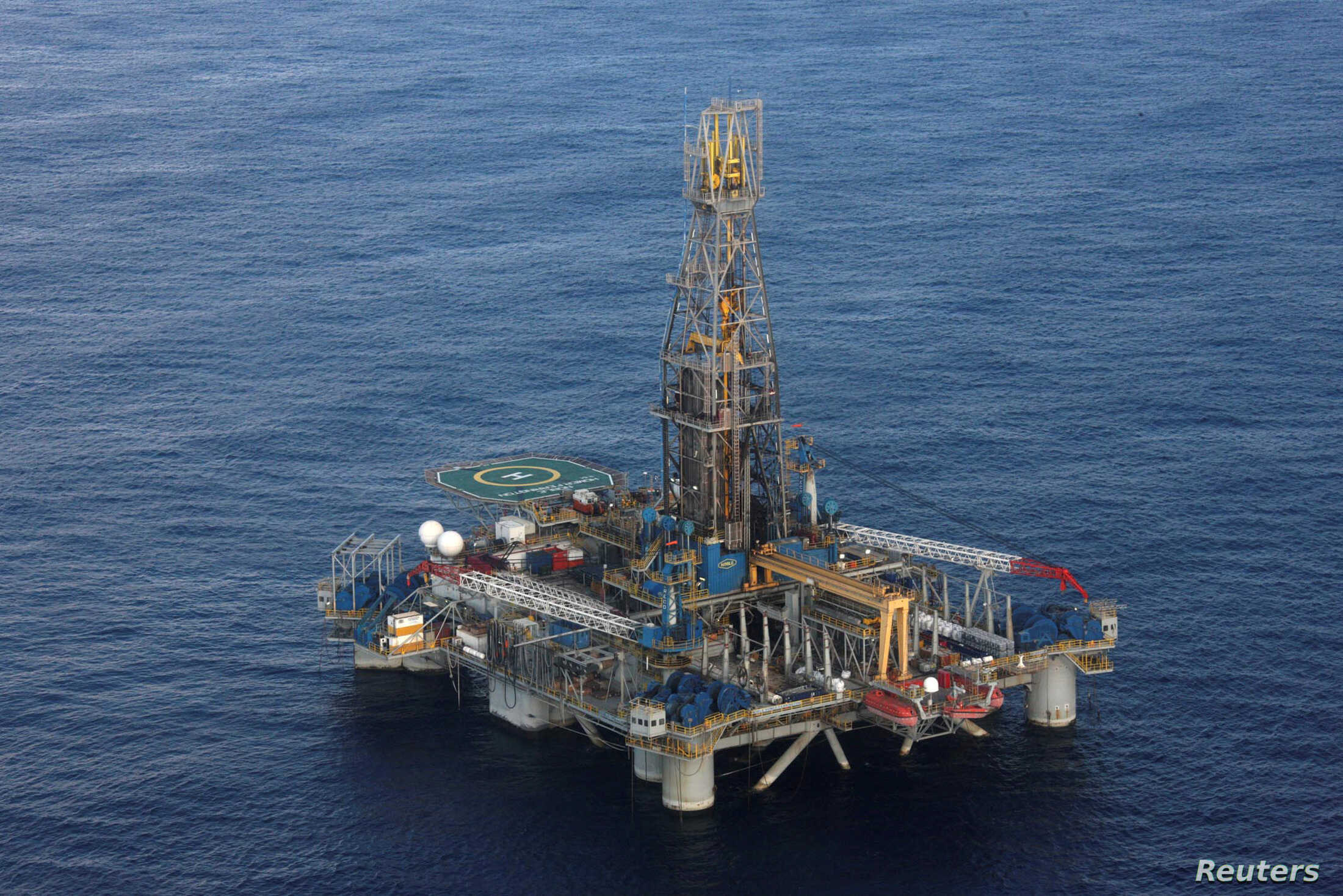 FILE - A view of the Homer Ferrington gas drilling rig, operated by Noble Energy and drilling in an offshore block on concession from the Cypriot government, in the eastern Mediterranean.