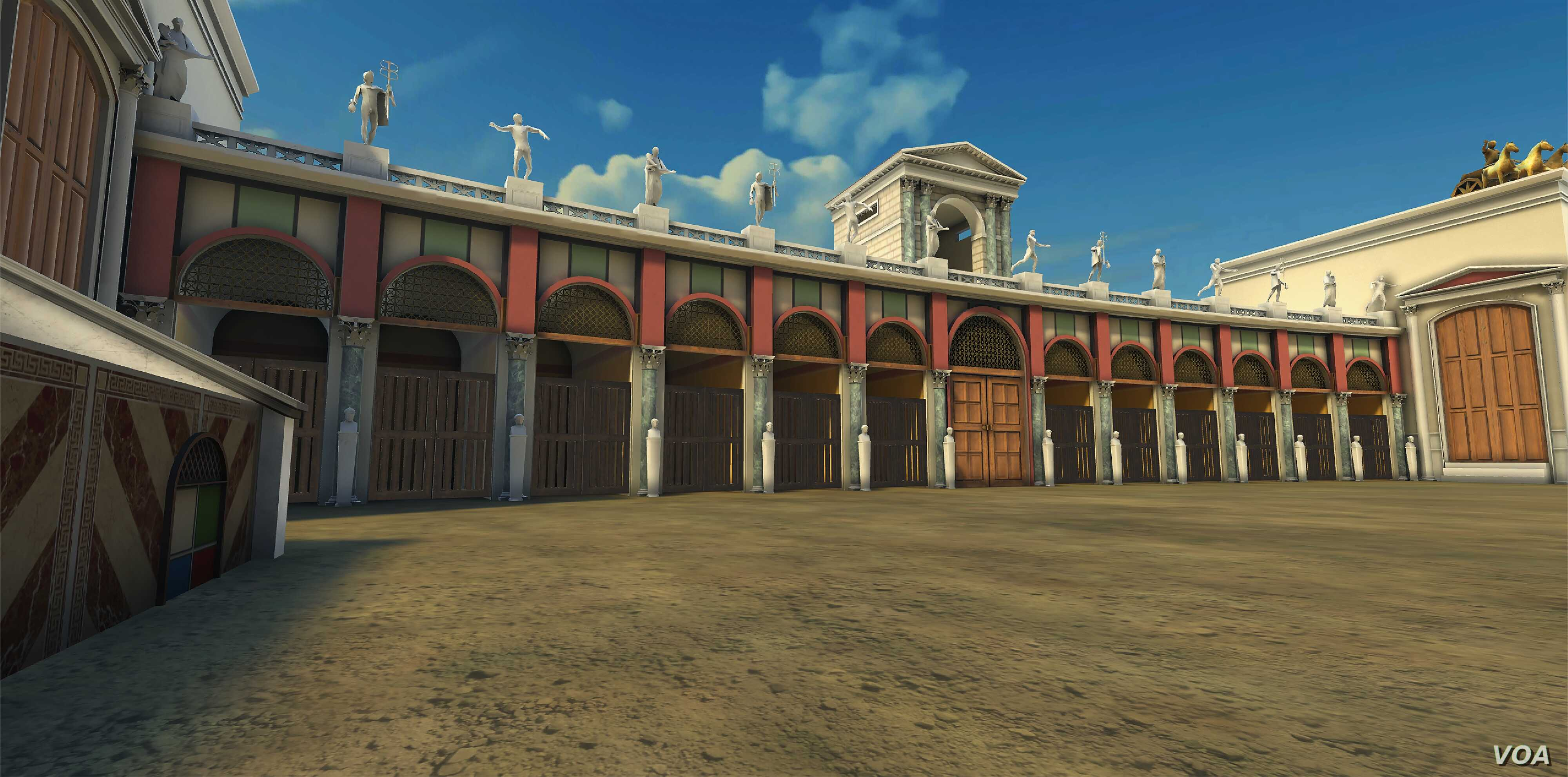 Rome's Circus Maximus reconstructed, showing the opposite end of the arena.