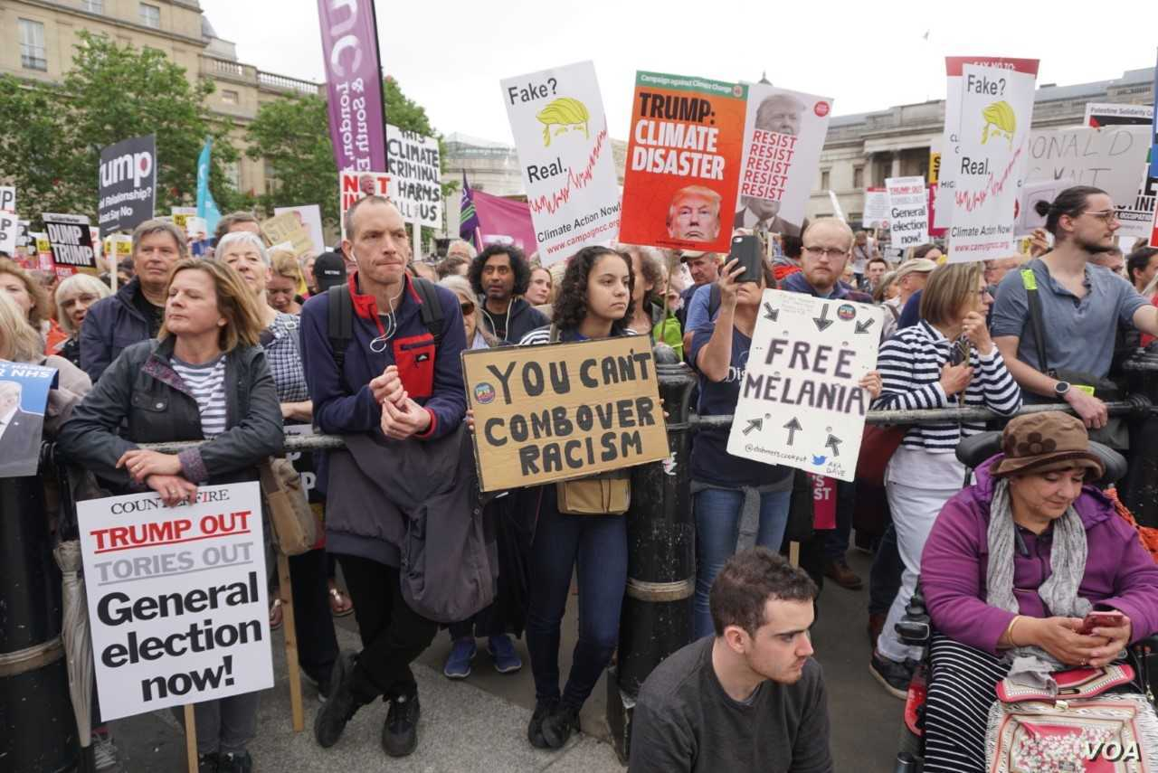 57 Varieties of Protest: Thousands of anti-Trump protesters gathered in London's Trafalgar Square ahead of a march down Whitehall to within shouting distance of the U.S. President as he held talks with Theresa May, Britain's outgoing prime minist...