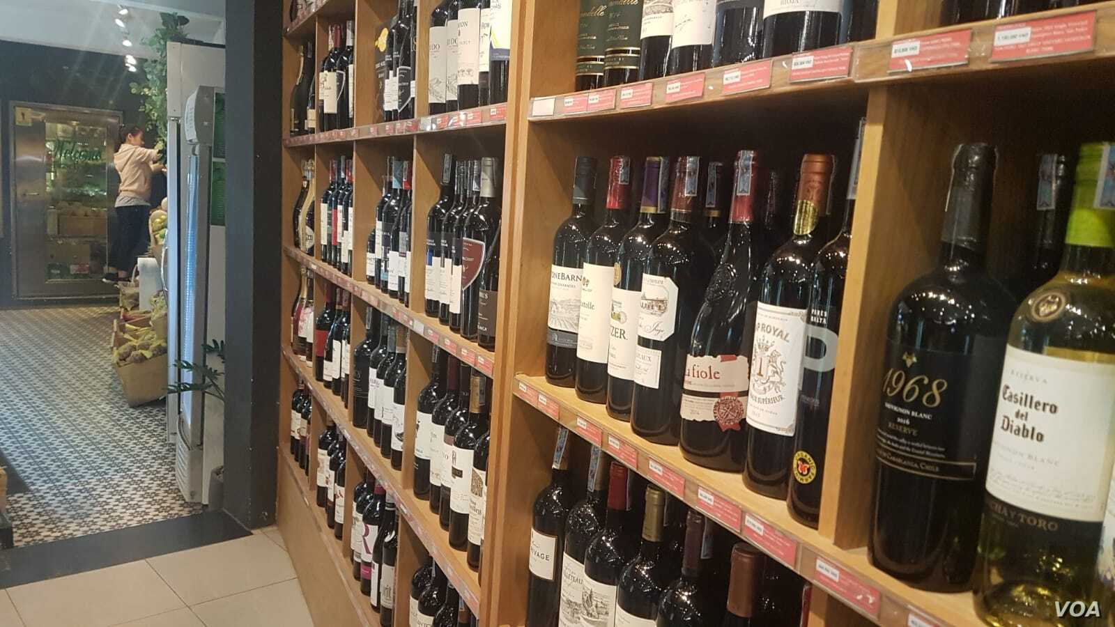 More European wine could appear on Vietnamese shelves, like at this store in Ho Chi Minh City, if the two sides finalize a trade deal.