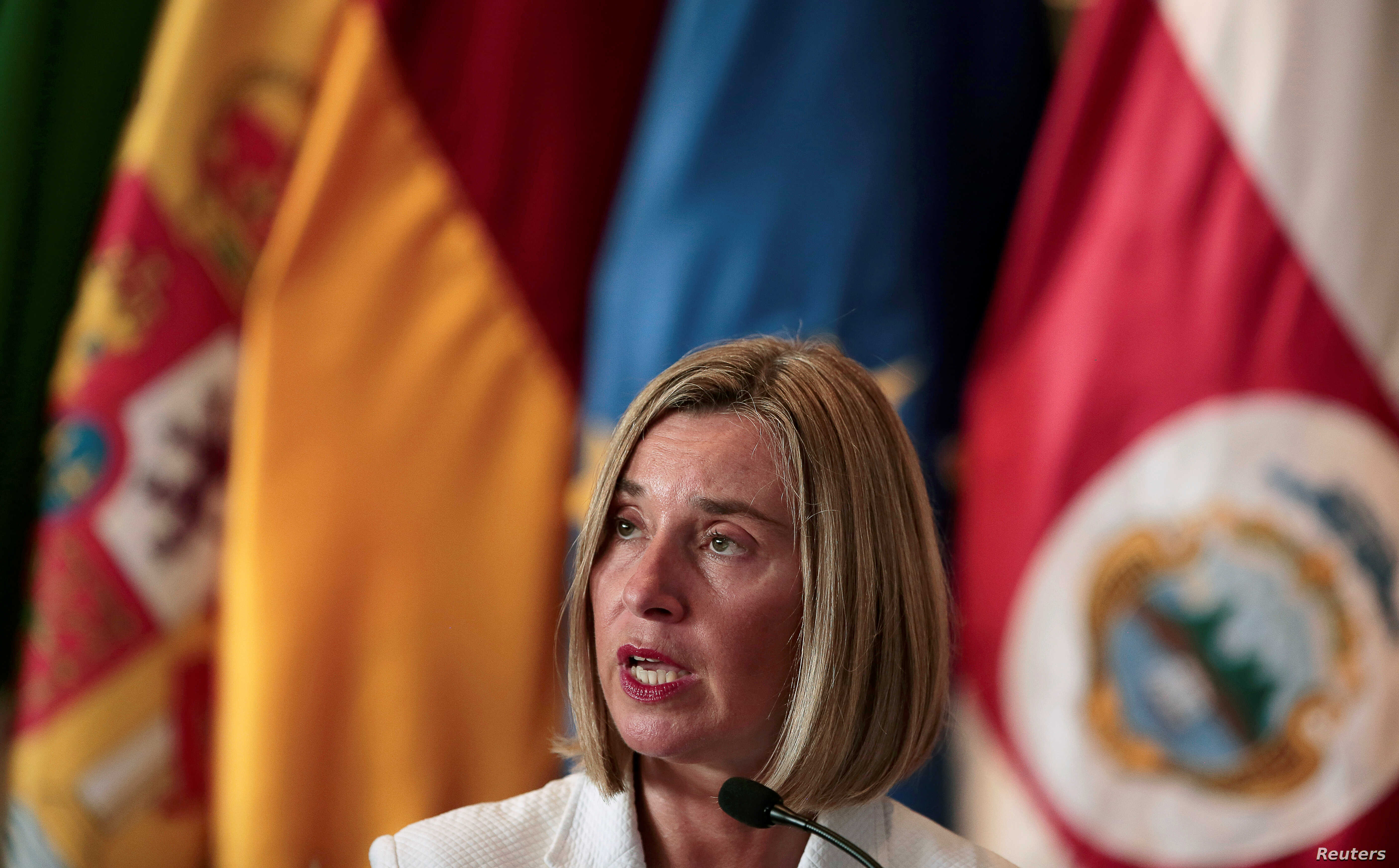 European Union High Representative for Foreign Affairs Federica Mogherini speaks during a news conference after a meeting of the International Contact Group  to discuss their support for a political solution to Venezuela's political crisis, in San Jo...