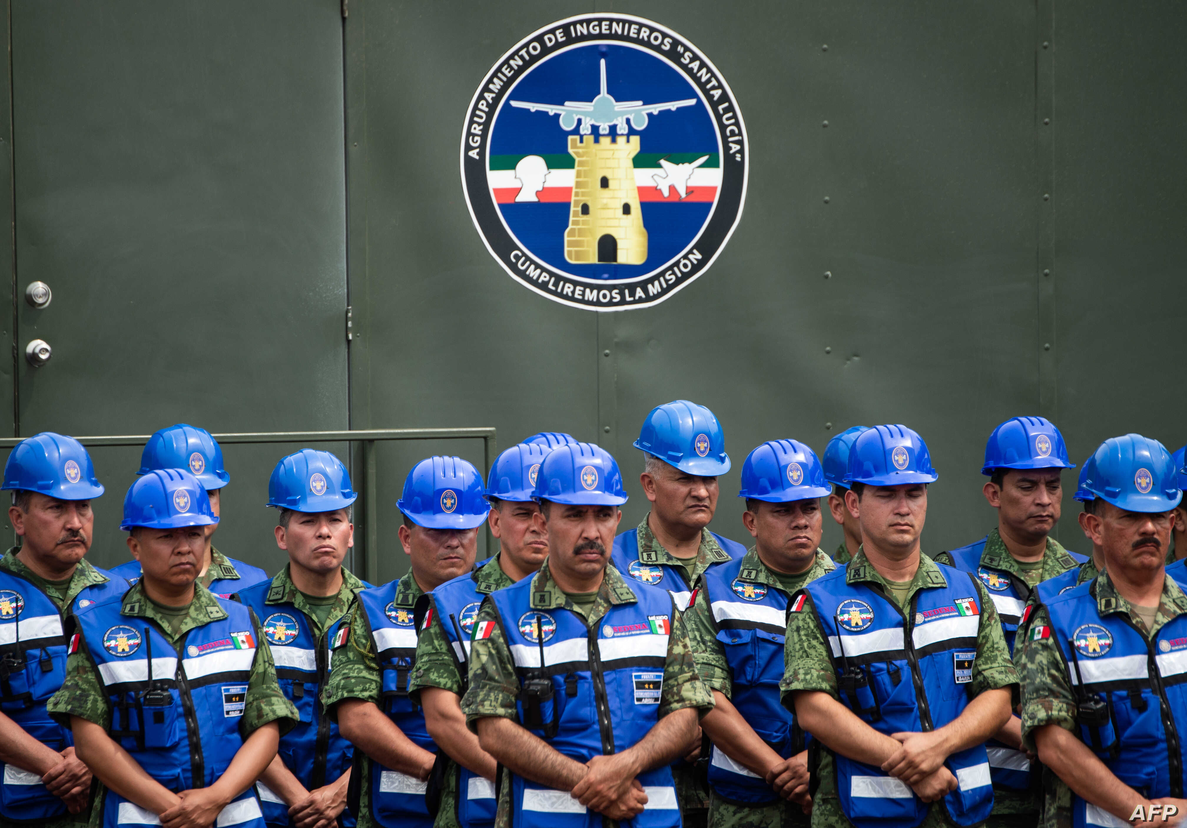 Military engineers are seen during the official event to mark the beginning of the construction of a new international airport, at the Santa Lucia Air Force Base in Zumpango near Mexico City, April 29, 2019.