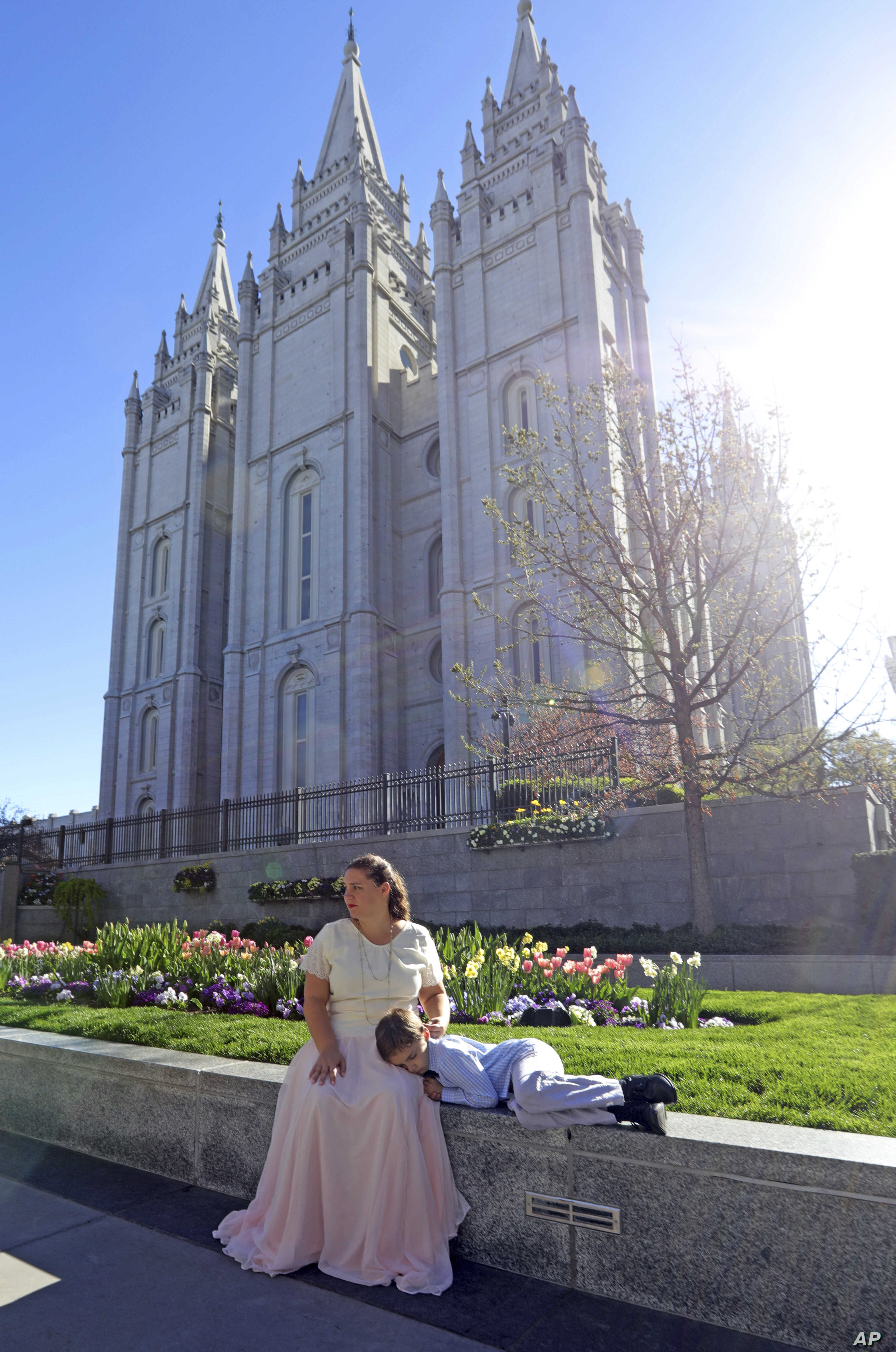 Salt Lake Temple is shown April 19, 2019, in Salt Lake City. The iconic temple central to The Church of Jesus Christ of Latter-day Saints faith will close for four years to complete a major renovation.