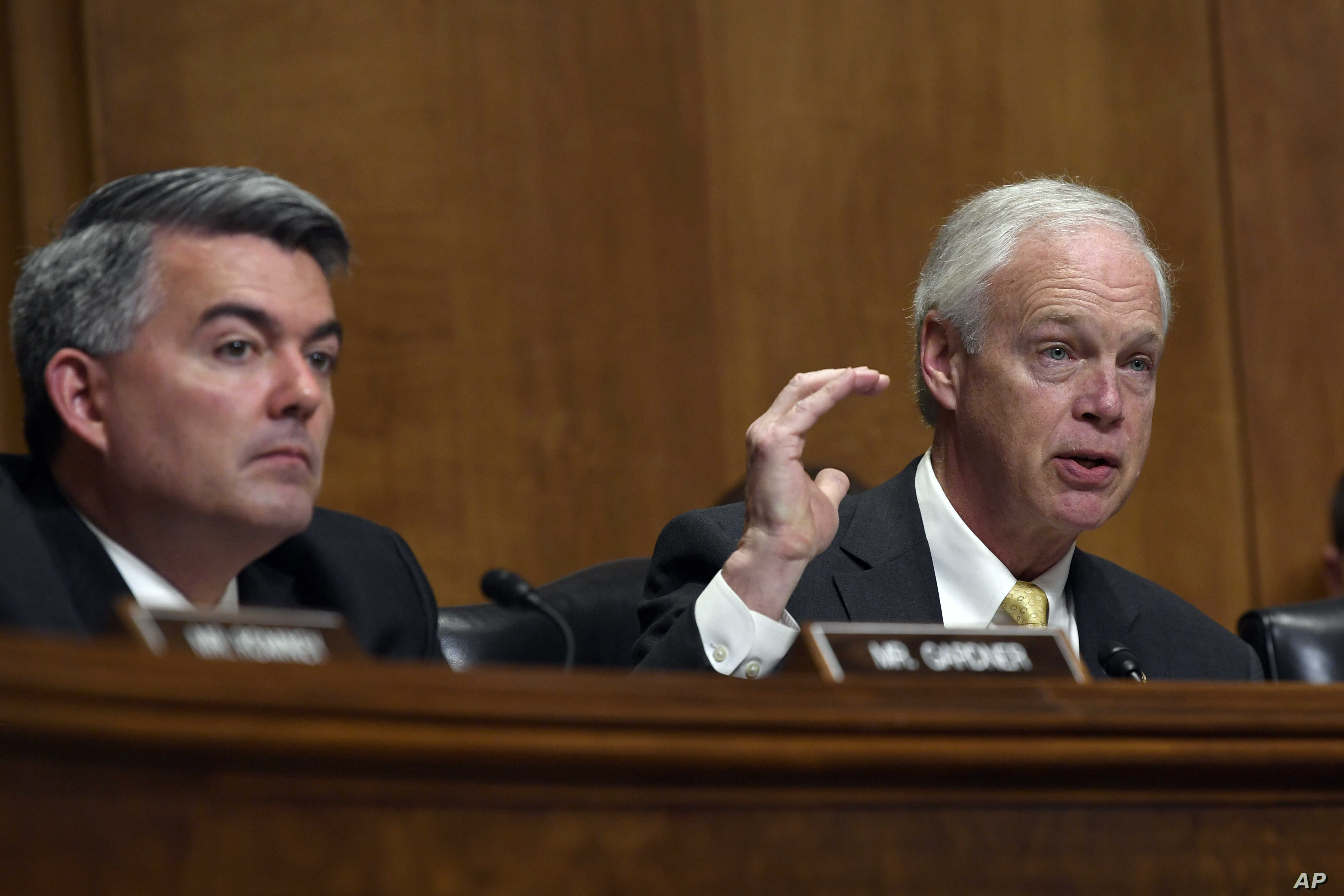 Sen. Ron Johnson, R-Wis. (R), sitting next to Sen. Cory Gardner, R-Colo., asks question of Secretary of State Mike Pompeo as he testifies before the Senate Foreign Relations Committee on Capitol Hill in Washington, April 10, 2019, during a hearing to...