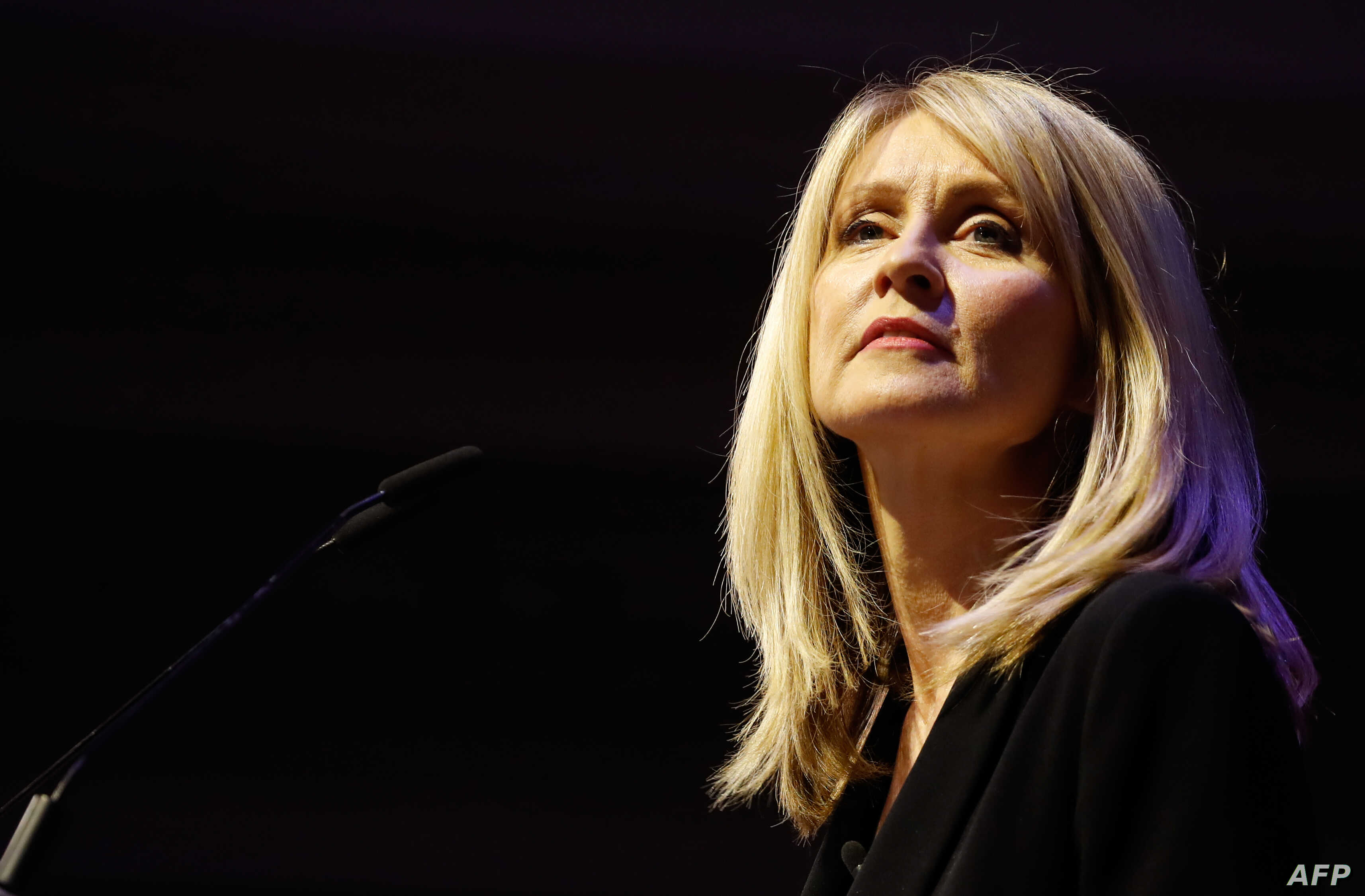 """Conservative Party MP Esther McVey speaks at a political rally entitled 'Lets Go WTO' hosted by pro-Brexit lobby group Leave Means Leave in London on January 17, 2019. - British Prime Minister Theresa May scrambled to put together a new Brexit strategy on Thursday after MPs rejected her EU divorce deal and demanded that she rule out a potentially disastrous """"no-deal"""" split. (Photo by Tolga AKMEN / AFP)"""