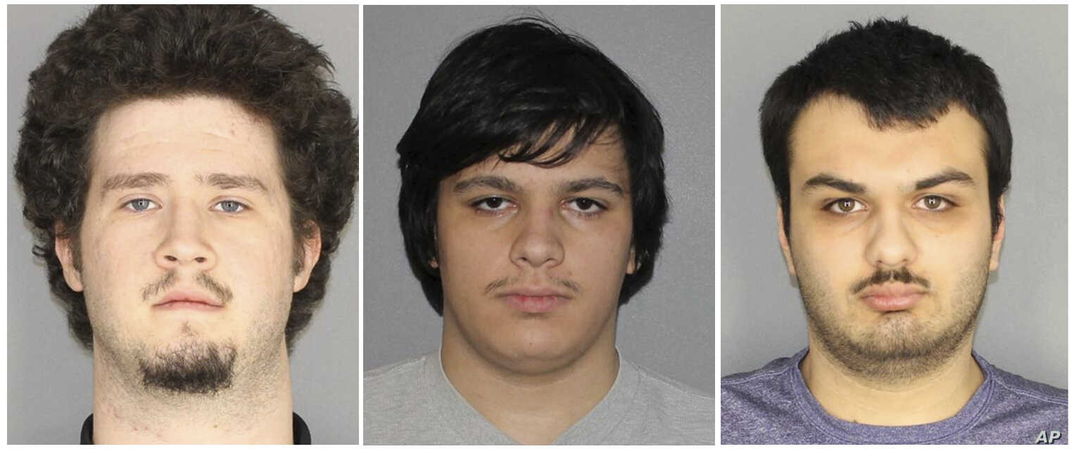 This combination of three Jan. 22, 2019, photos released by the Greece, N.Y., Police Department shows from left, Brian Colaneri, Andrew Crysel and Vincent Vetromile. Authorities said the three men, along with a 16-year old, were charged with plotting...