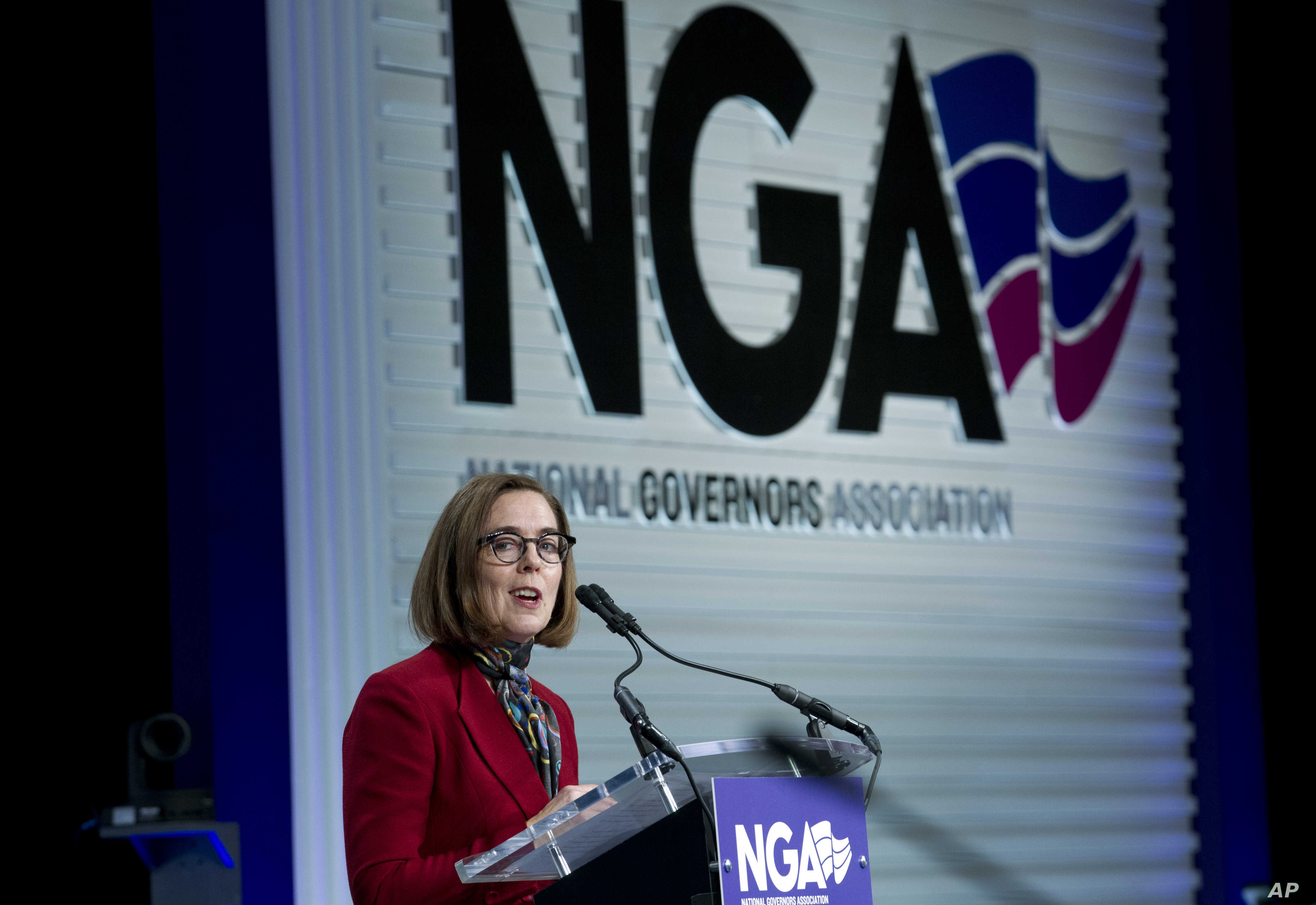 Oregon Gov. Kate Brown speaks at the National Governors Association 2019 winter meeting in Washington, Feb. 23, 2019.