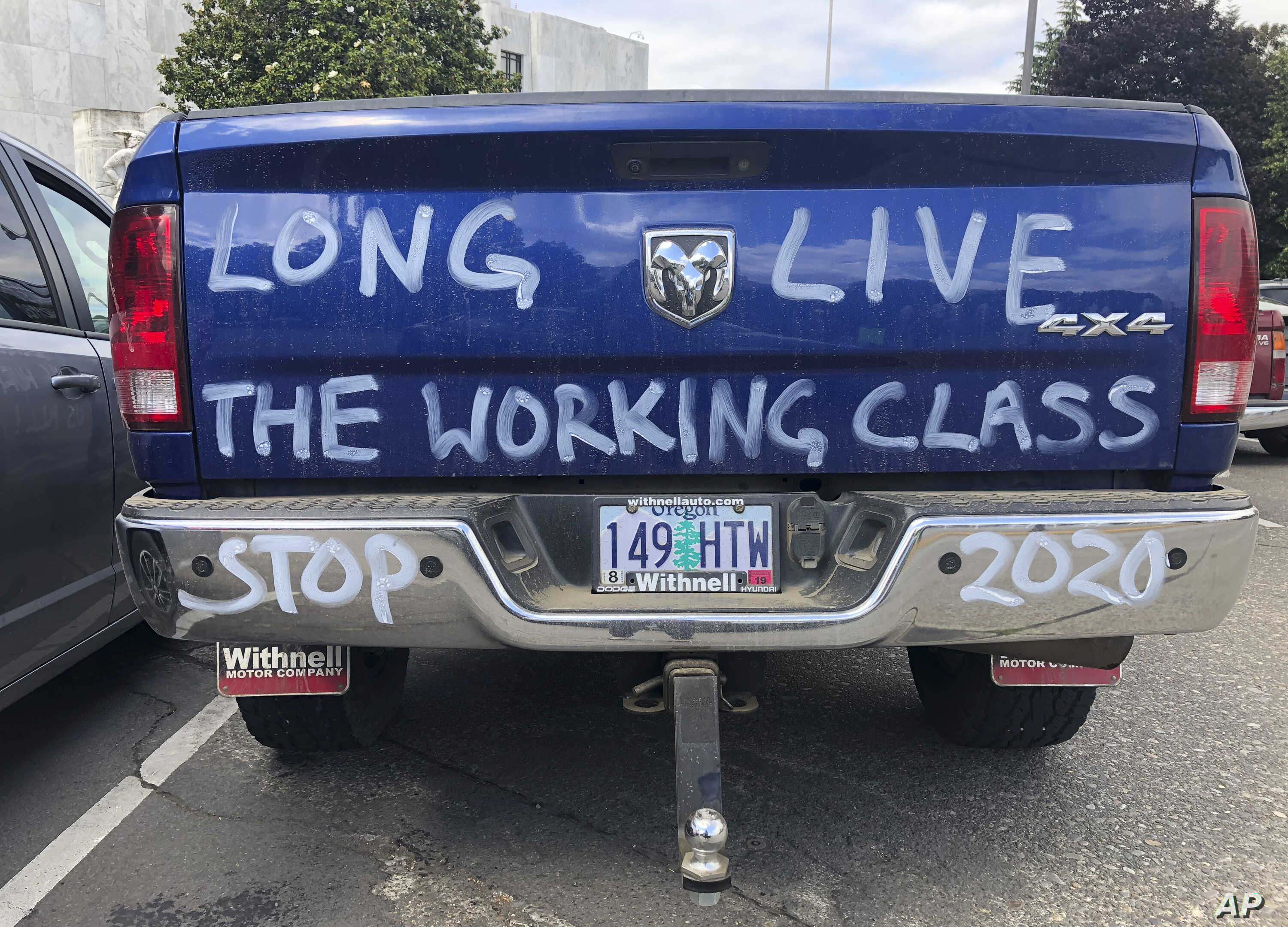 The truck of a logger and cap-and-trade opponent is parked in Salem, Ore., June 20, 2019.