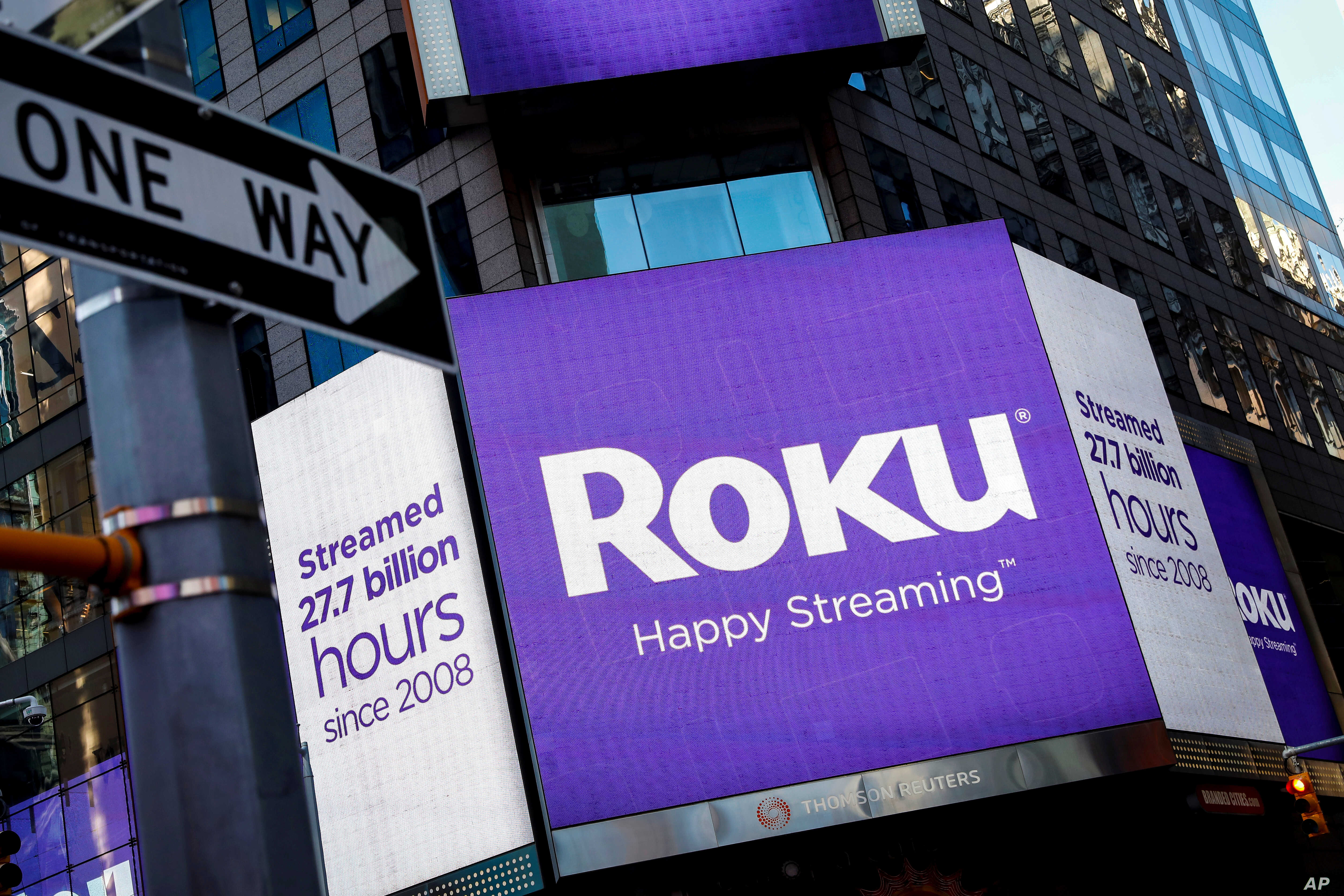 FILE PHOTO A video sign displays the logo for Roku Inc, a Fox-backed video streaming firm, in Times Square after the company's IPO at the Nasdaq Market in New York, U.S., Sept. 28, 2017.
