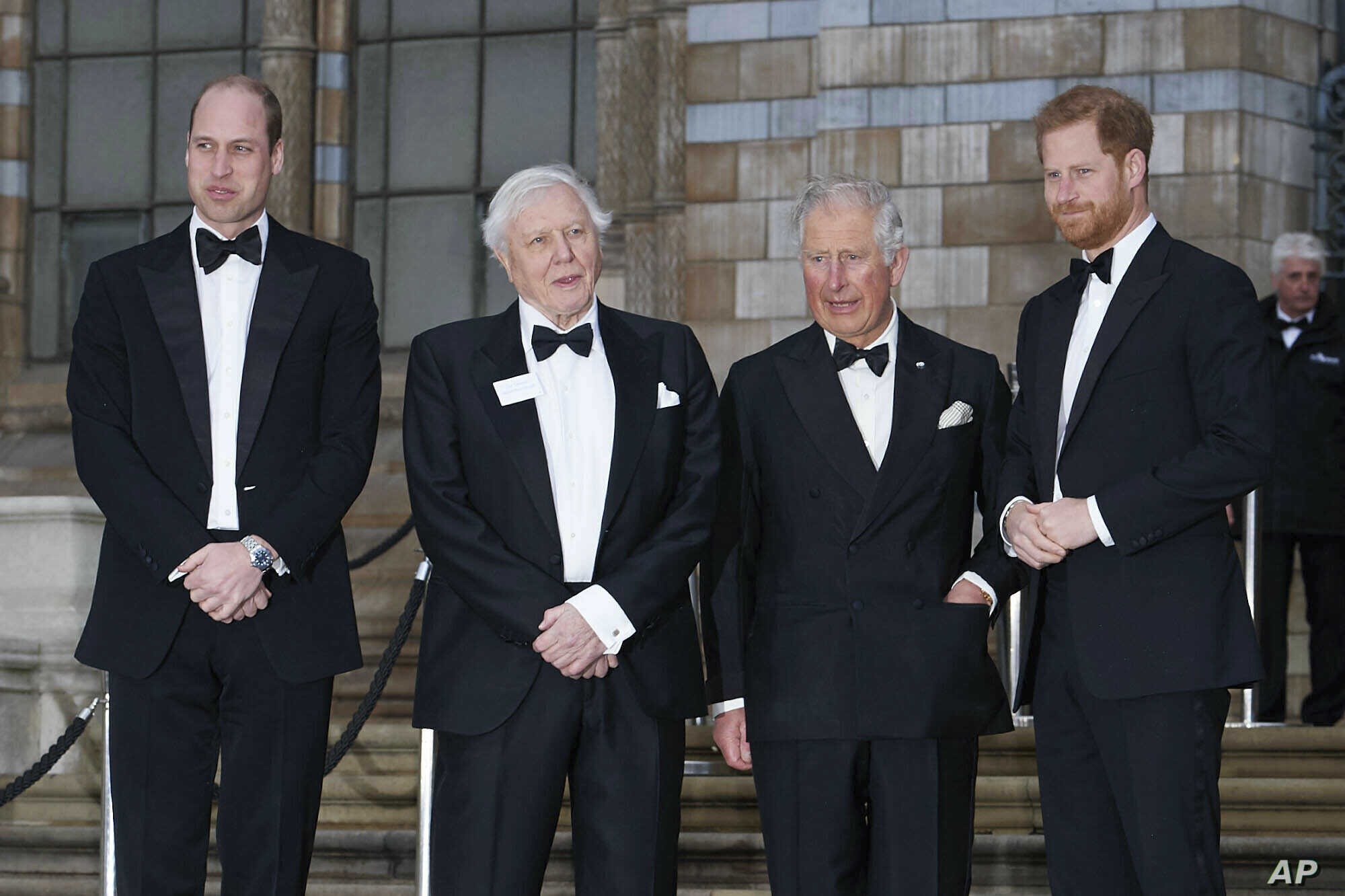 Prince William, The Duke of Cambridge, Sir David Attenborough, Prince Charles, The Prince of Wales and Prince Harry, The Duke of Sussex at the World Premiere of Our Planet held at the Natural History Museum in London, April 4, 2019.