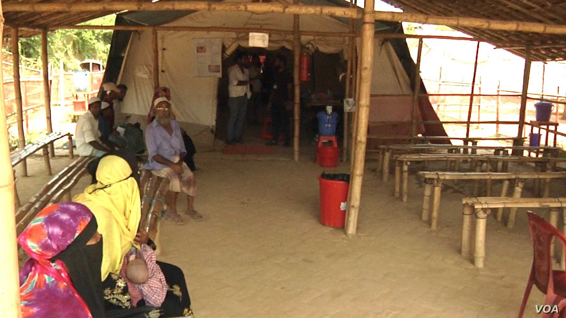 The waiting area at the outpatient clinic of a Doctors Without Borders hospital in a Rohingya refugee camp.