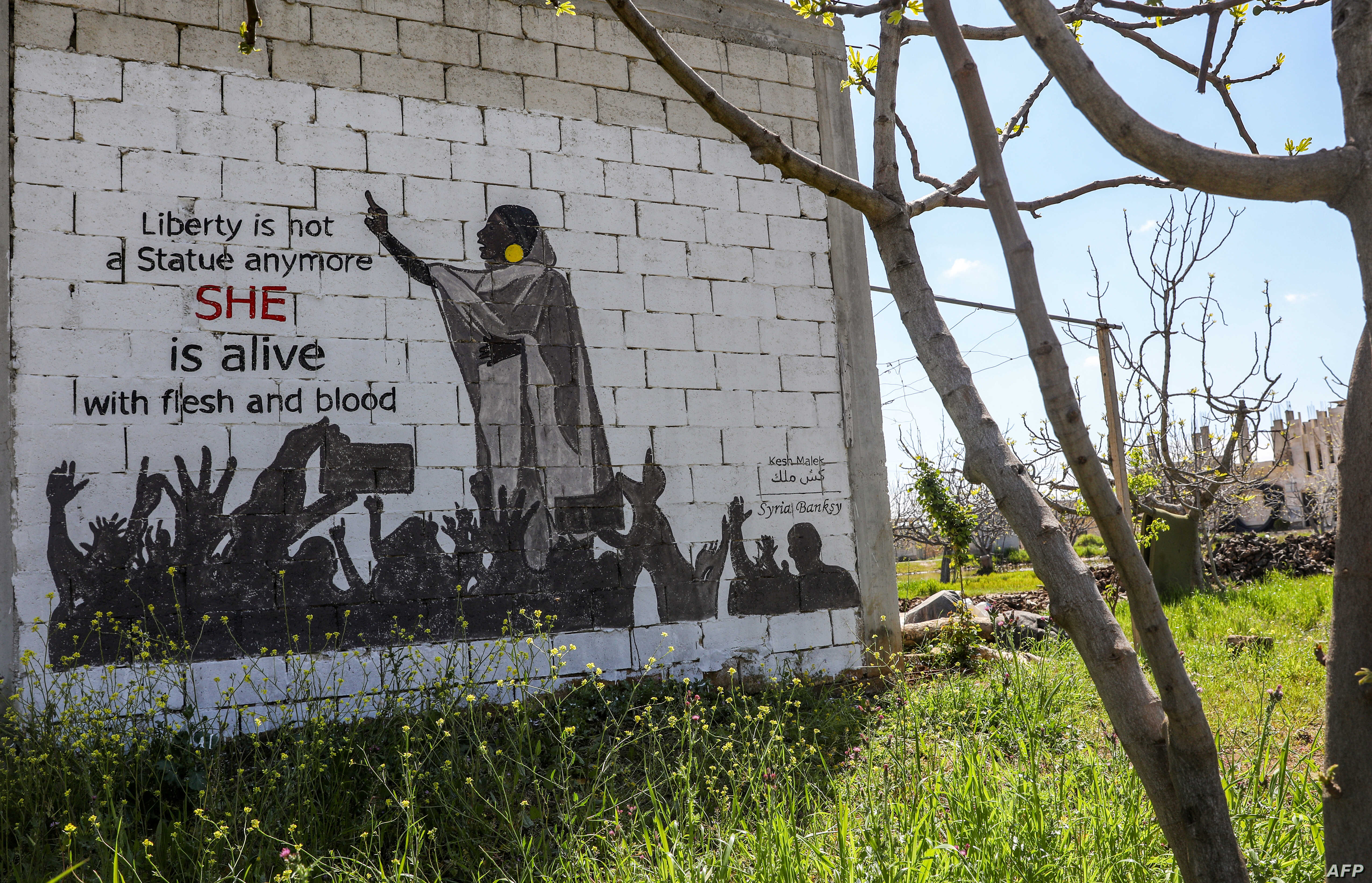 A mural painting of Alaa Salah, a Sudanese woman propelled to internet fame after clips went viral of her leading powerful protest chants against President Omar al-Bashir, is seen on the wall of a farmhouse building in the rebel-held Syrian town of K...