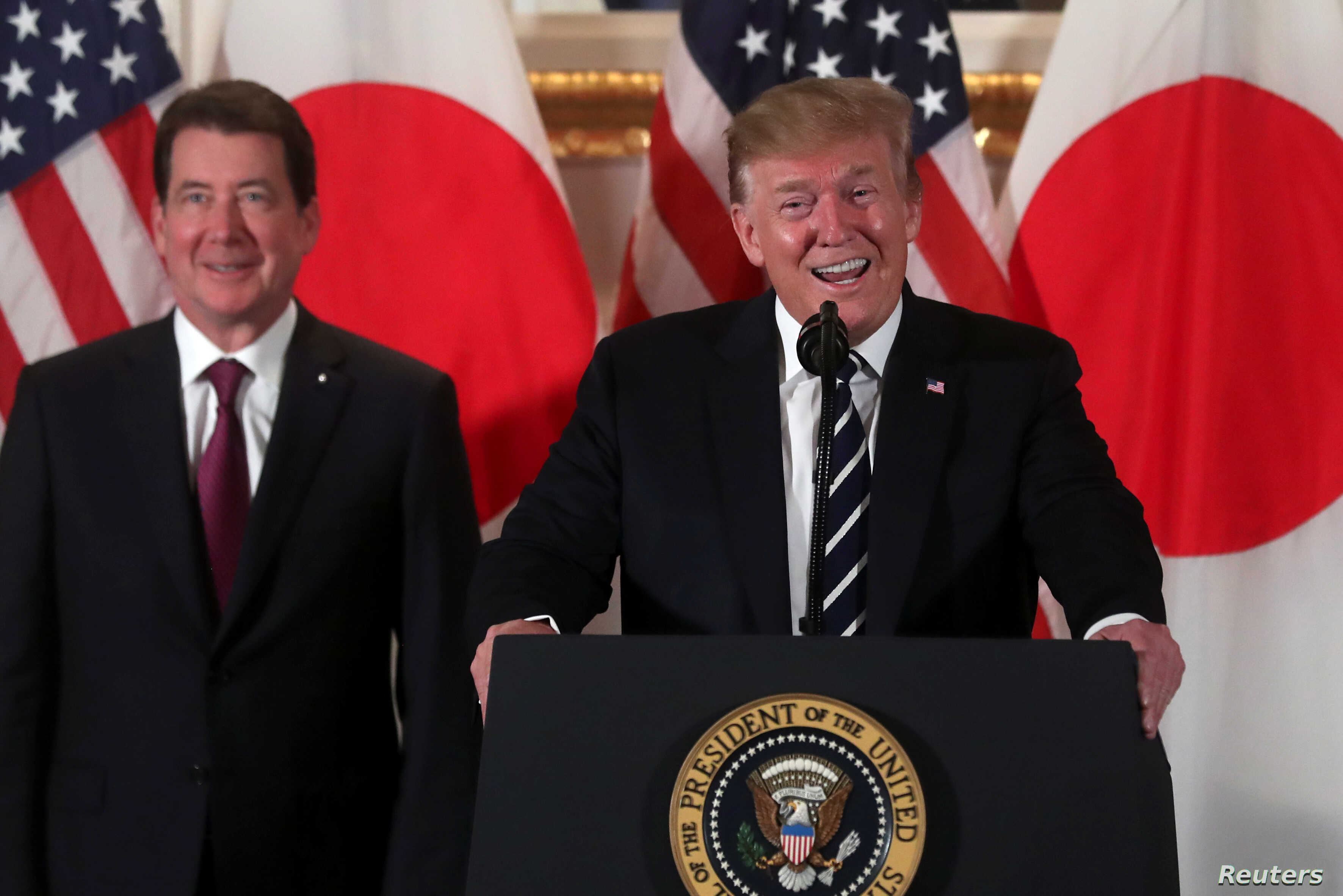 U.S. President Donald Trump attends a Japanese business leaders event with U.S. Ambassador to Japan William Hagerty in Tokyo, May 25, 2019.