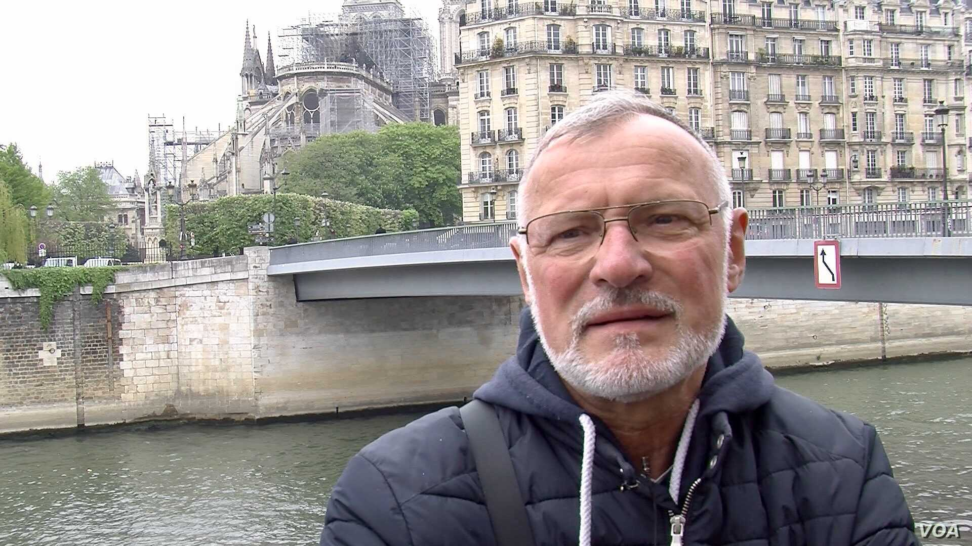 """Our heart is bleeding,"" says former Paris firefighter Philippe Facquet, the day after the devastating fire at Notre Dame cathedral, April 16, 2019."