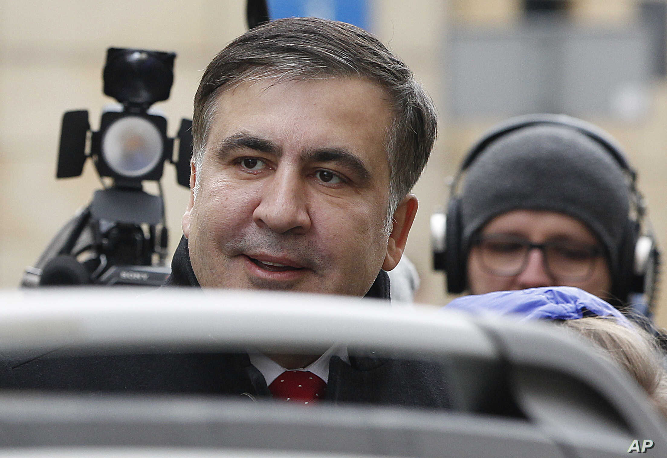 FILE - Mikheil Saakashvili, former president of Georgia and an opposition figure in Ukraine, arrives for a news conference in Warsaw, Poland, Feb. 13, 2018, after being deported from Ukraine.