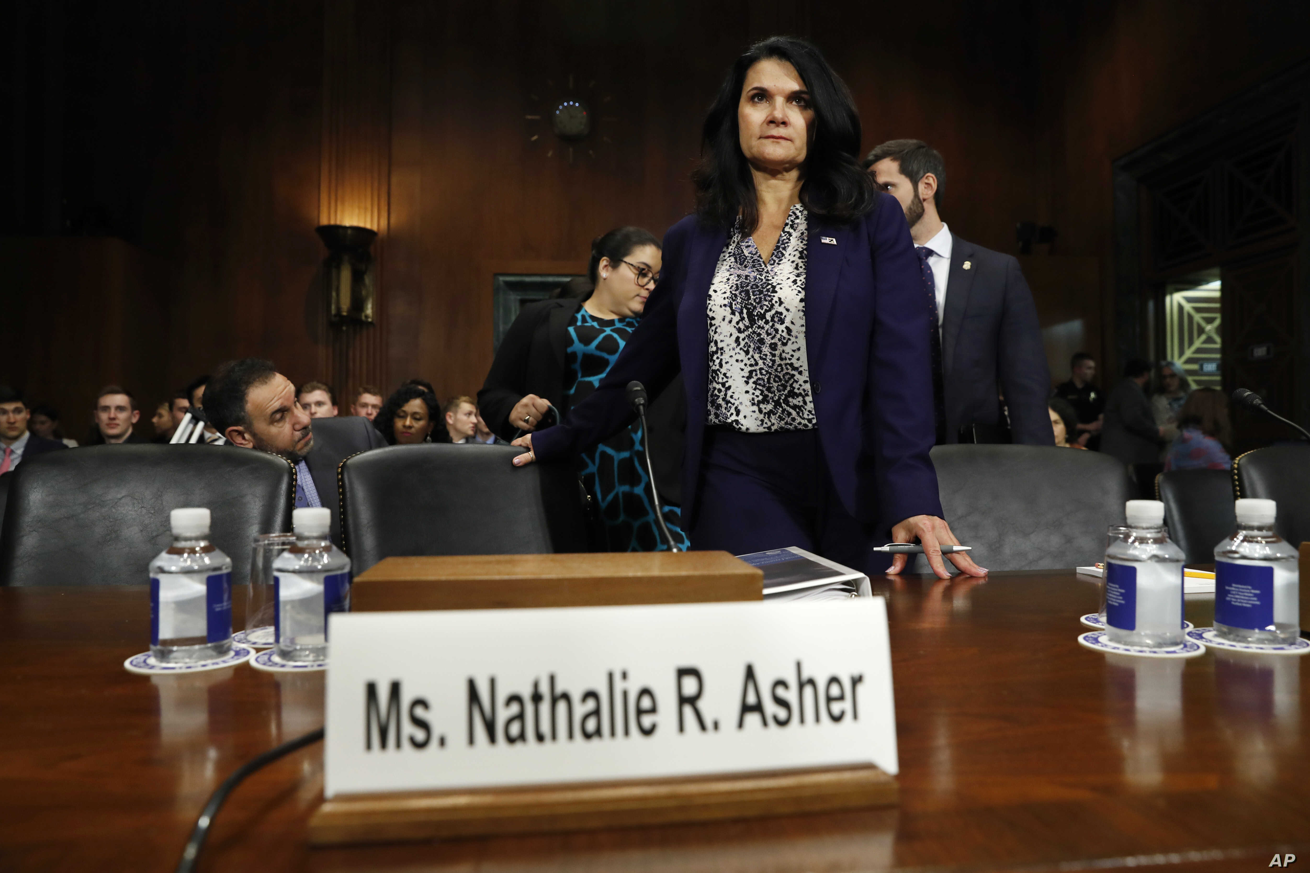 Department of Homeland Security Acting Executive Associate Director of Enforcement and Removal Operations Nathalie Asher arrives to testify during a Senate Judiciary Border Security and Immigration Subcommittee hearing about the border, May 8, 2019.