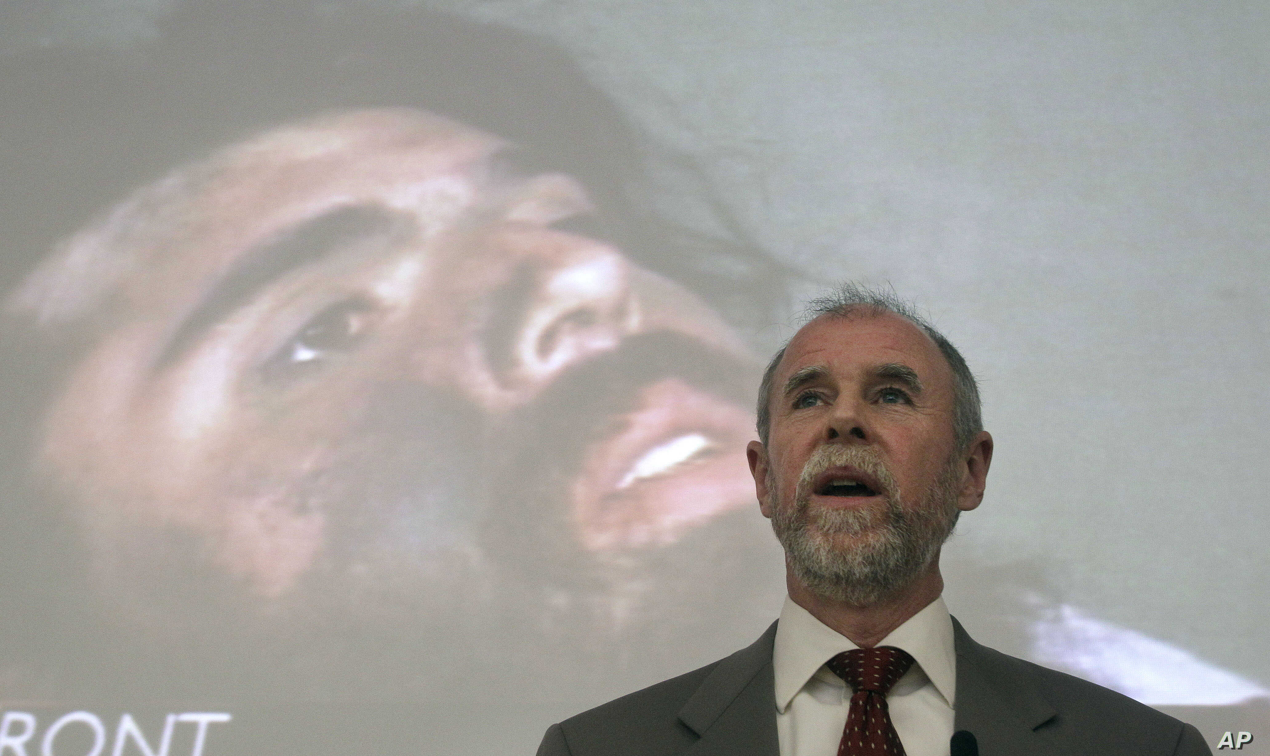 Frank Lindh is shown speaking to law students in front of a projected image of his son, John Walker Lindh, at the University of San Francisco in San Francisco, Feb. 16, 2011.