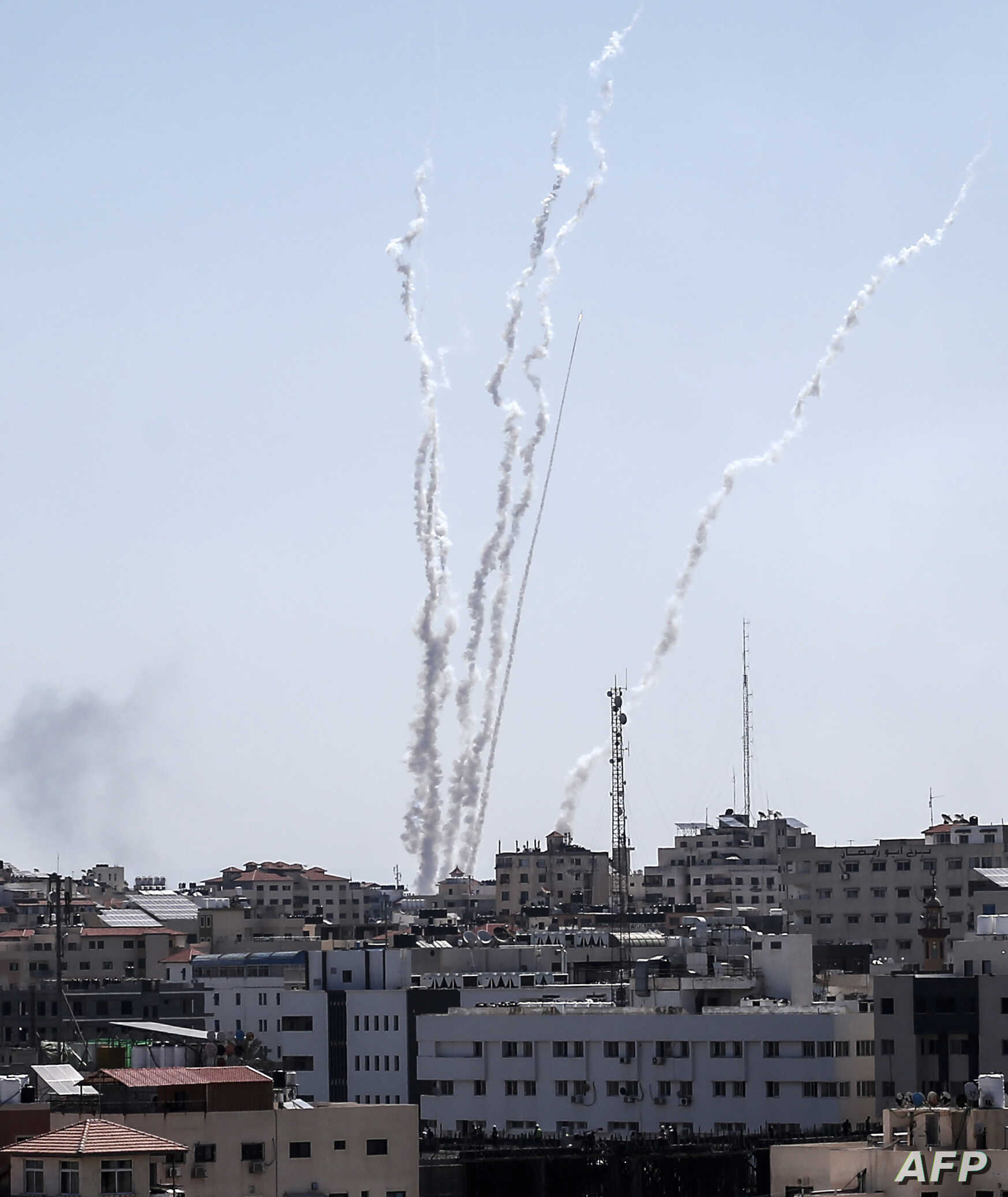 A picture taken from the Gaza Strip, May 4, 2019, shows missiles being launched toward Israel.